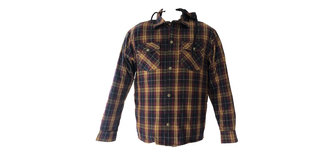 Chemise moto kevlar homme à carreaux Lumberjack marron