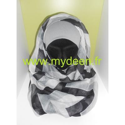 "Grand Hijab ""Chevronne"" Blanc & Noir"