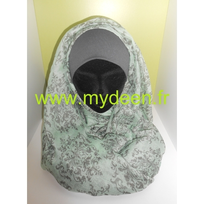 "Hijab ""Damasse"" Vert d'eau"