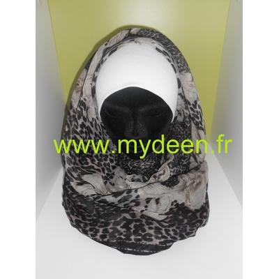 "Grand Hijab ""Mystère"" Noir & Marron"