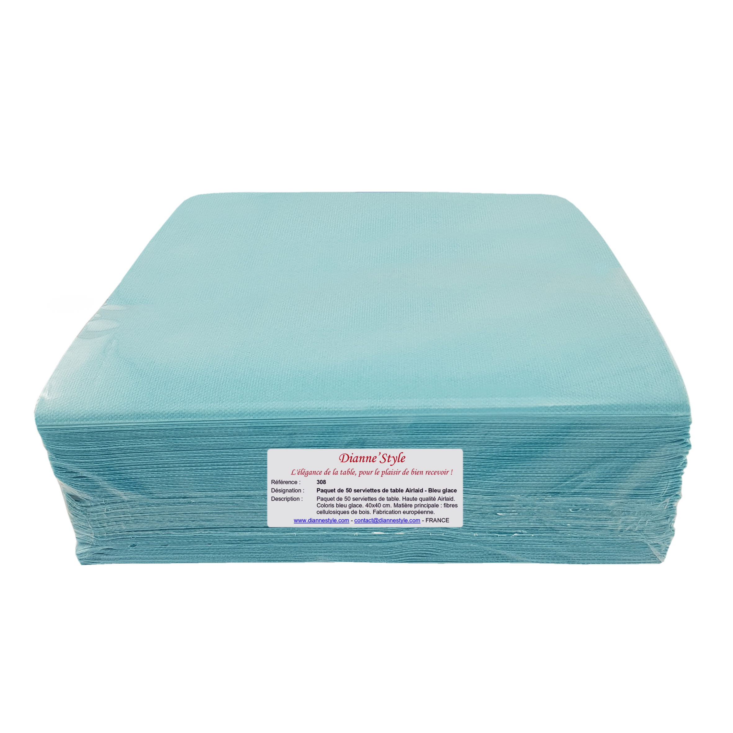 Paquet de 50 serviettes de table Airlaid - Bleu glace. Réf. 308