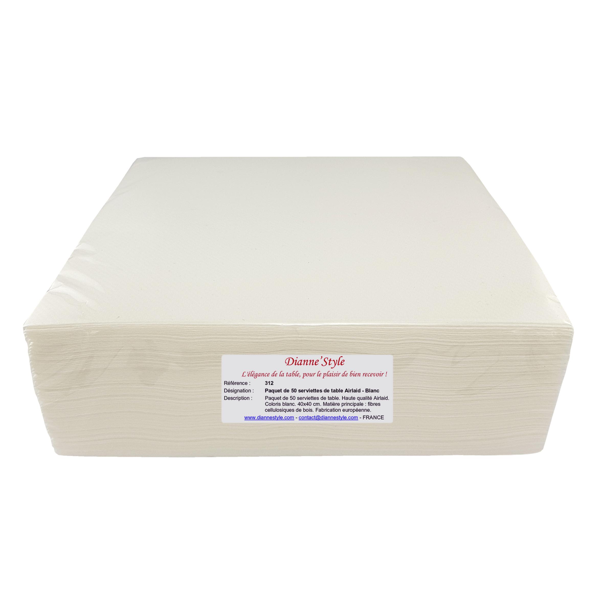 Paquet de 50 serviettes de table Airlaid - Blanc. Réf. 312