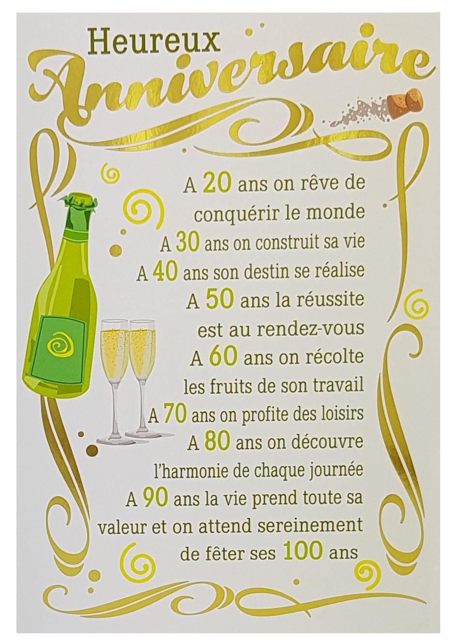 Carte de menu anniversaire homme - Champagne. Réf. 68