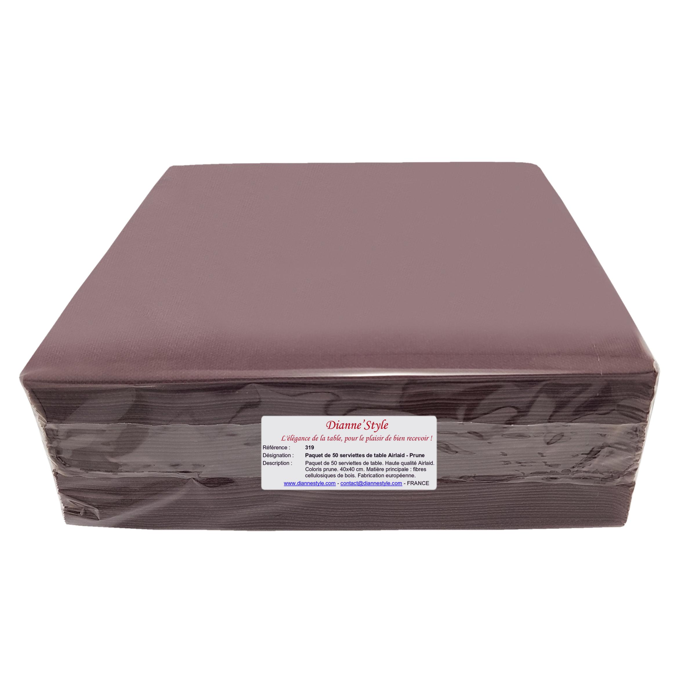 Paquet de 50 serviettes de table Airlaid - Prune. Réf. 319