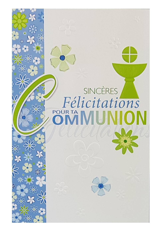 Carte de menu communion fleurs - fille. Réf. 72