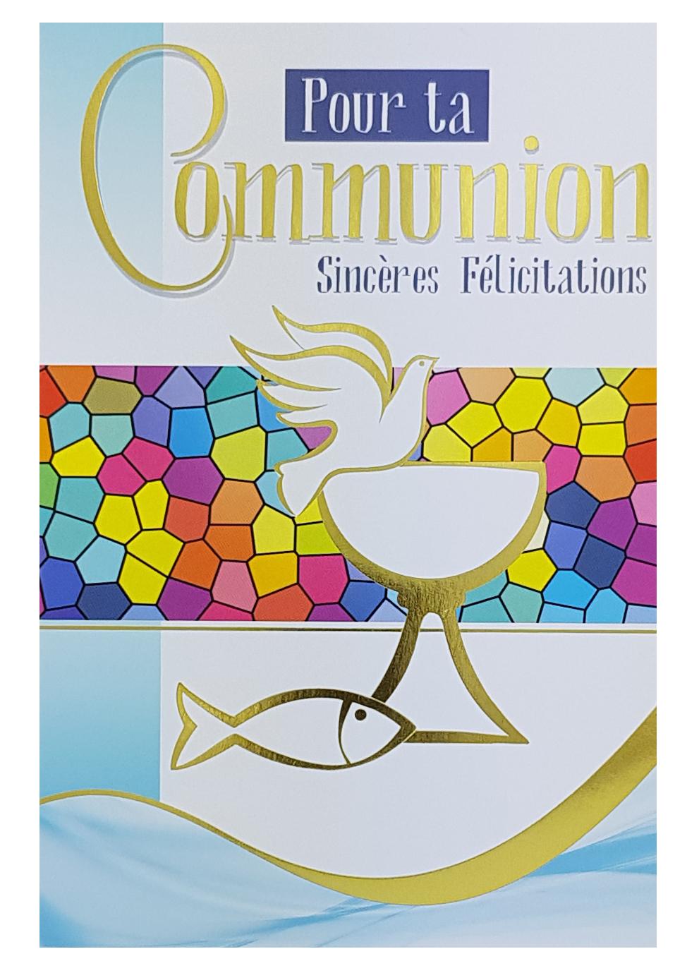 Carte de menu communion vitrail colombe - garçon. Réf. 74