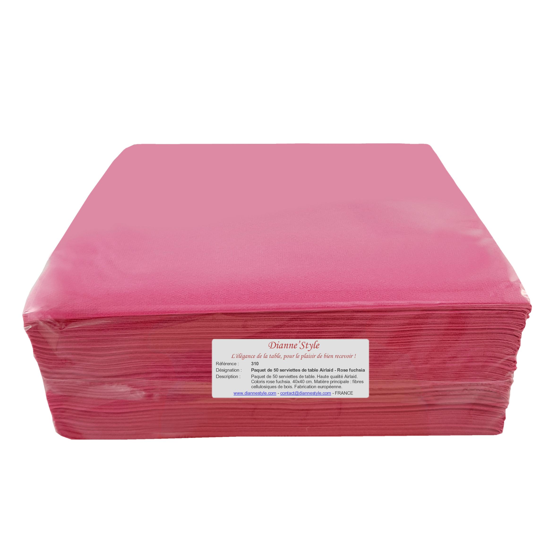 Paquet de 50 serviettes de table Airlaid - Rose fuchsia. Réf. 310