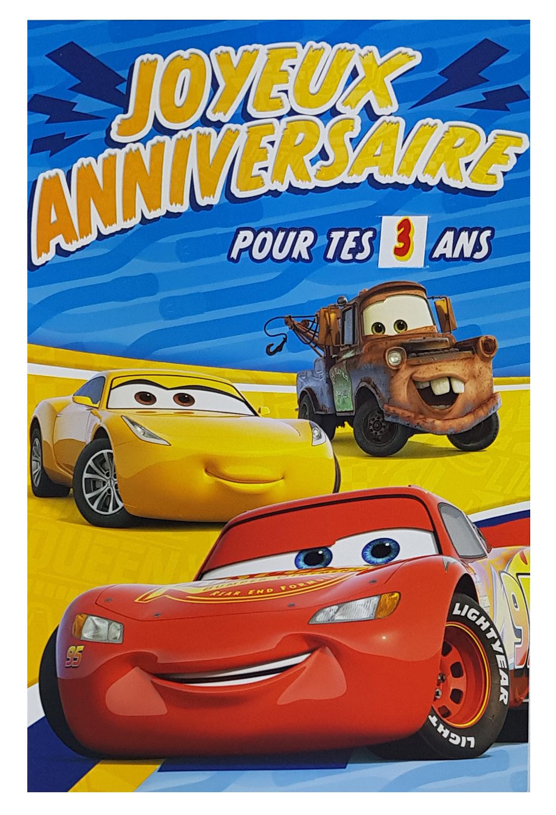 Carte de menu anniversaire Cars Disney Pixar-Martin, Cruz et Flash McQueen. Réf. 78