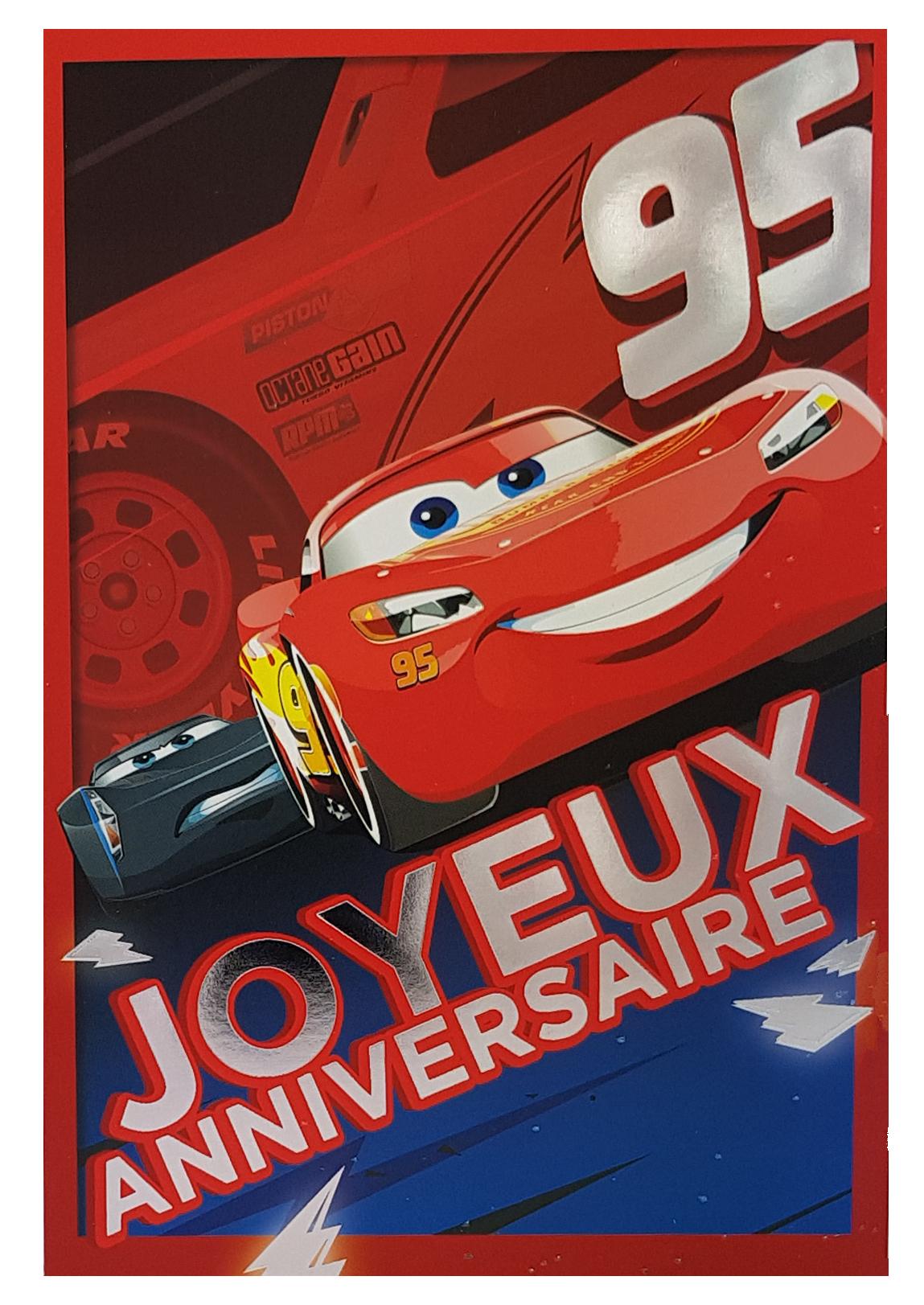 Carte de menu anniversaire Cars Disney Pixar - Flash McQueen 95 métallisée. Réf. 82