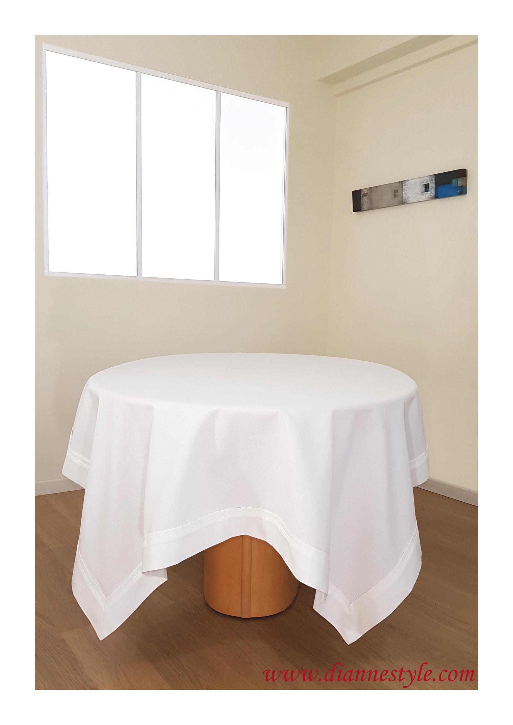 Nappe rectangulaire blanche Gardénia 150x250 cm. Réf. 348