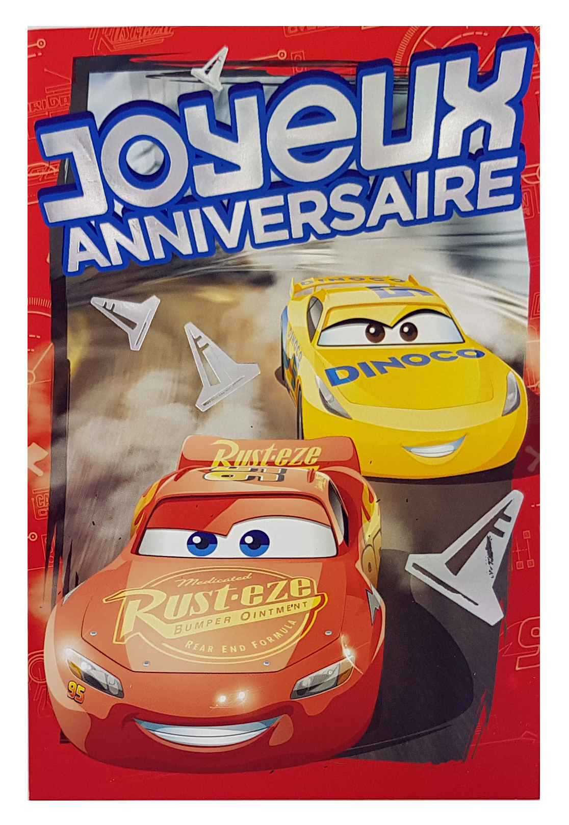 Carte de menu anniversaire Cars Disney Pixar-Flash McQueen Rust.eze, Cruz Dinoco. Réf. 86