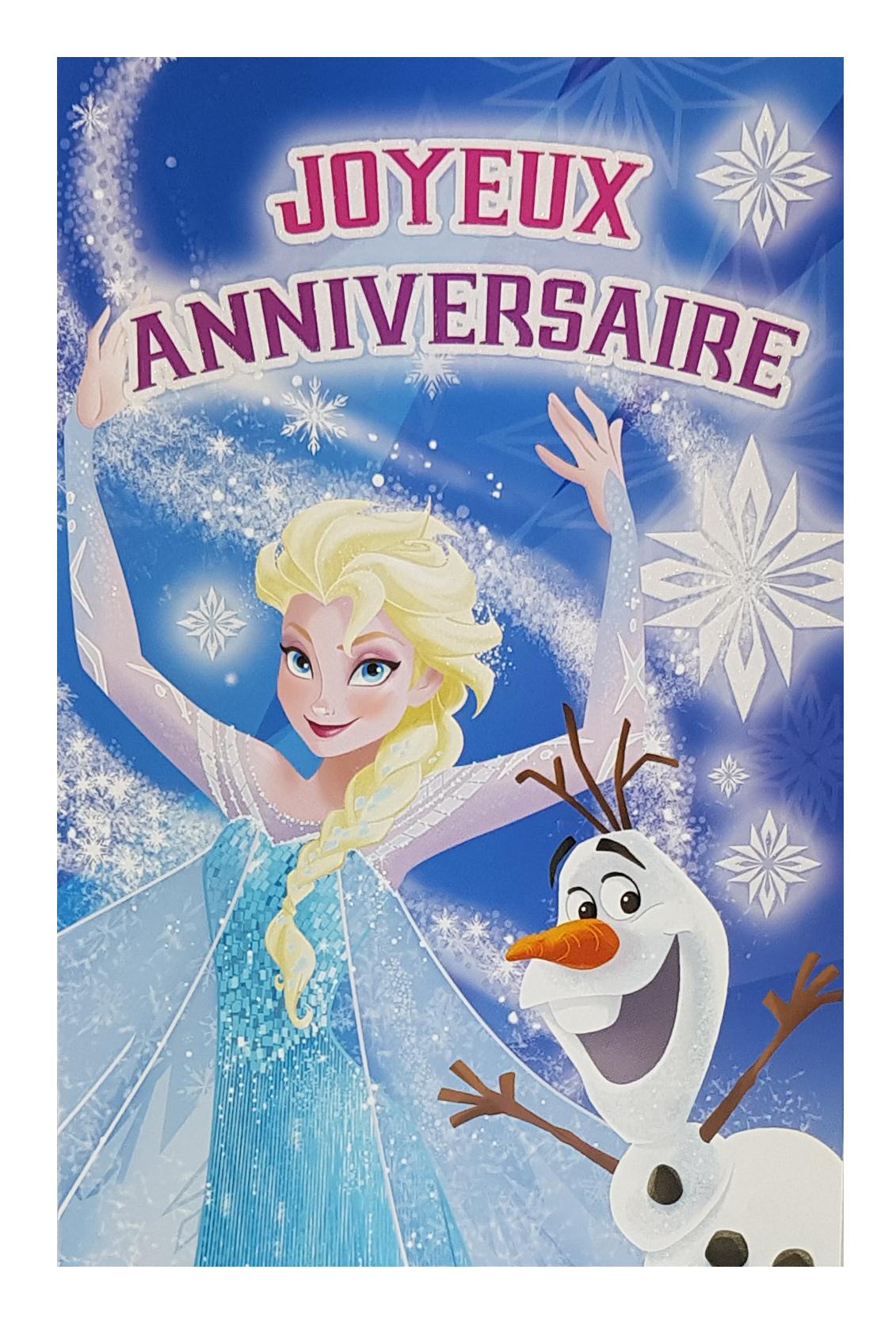 Carte de menu anniversaire Reine des Neiges Elsa et Olaf. Réf. 94
