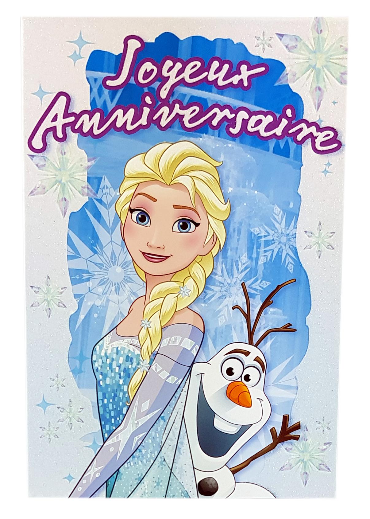 Carte Disney Joyeux anniversaire Reine des neiges-Elsa et Olaf. Réf. 95