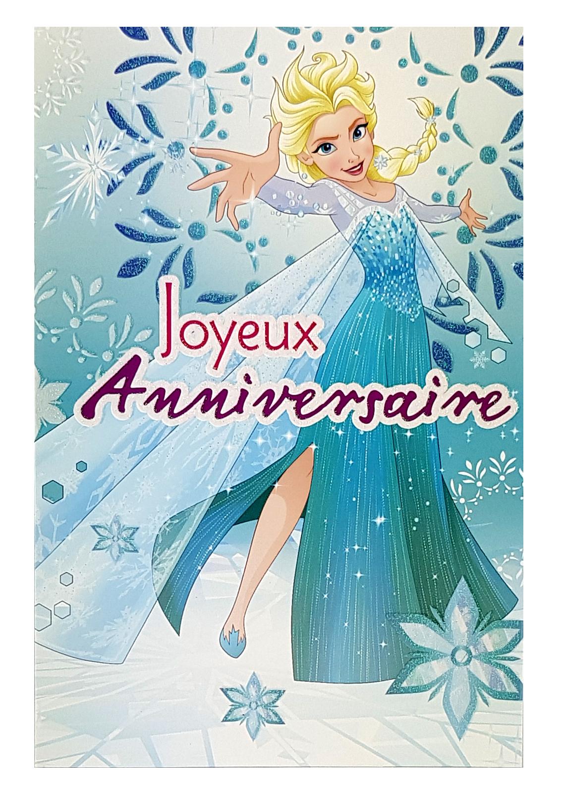 Carte Disney Joyeux anniversaire Reine des neiges Elsa. Réf. 97