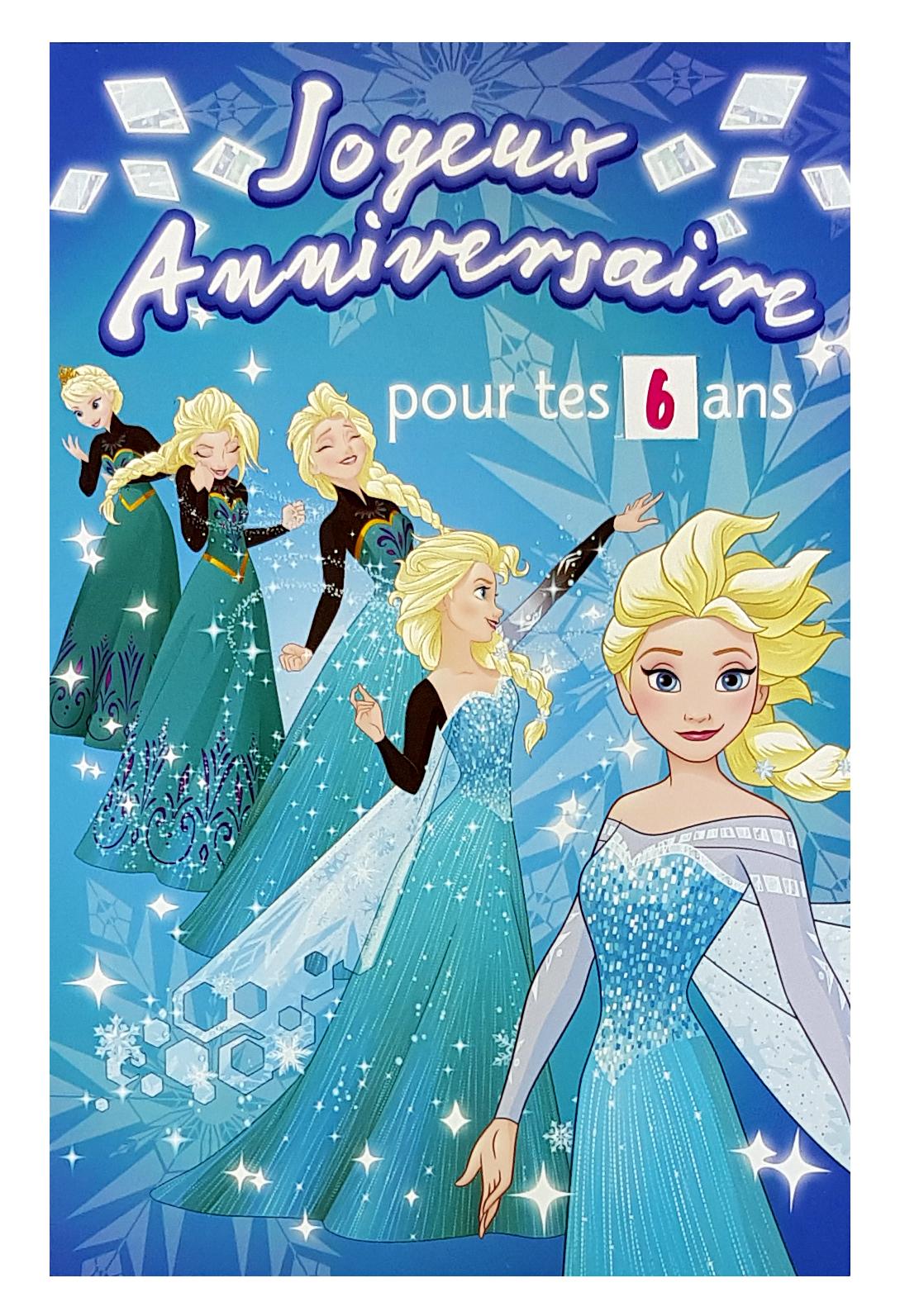 carte joyeux anniversaire La Reine des Neiges Disney avec Elsa E
