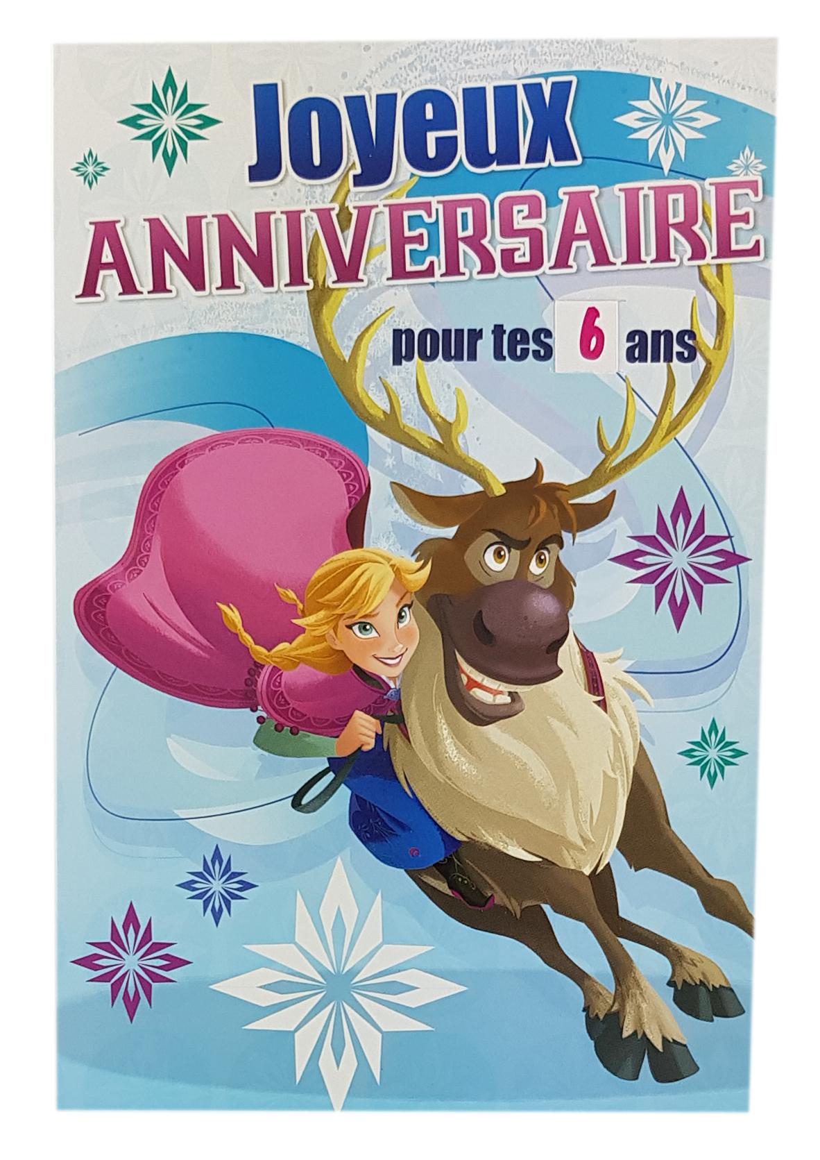 carte joyeux anniversaire La Reine des Neiges Disney avec Anna et Sven C