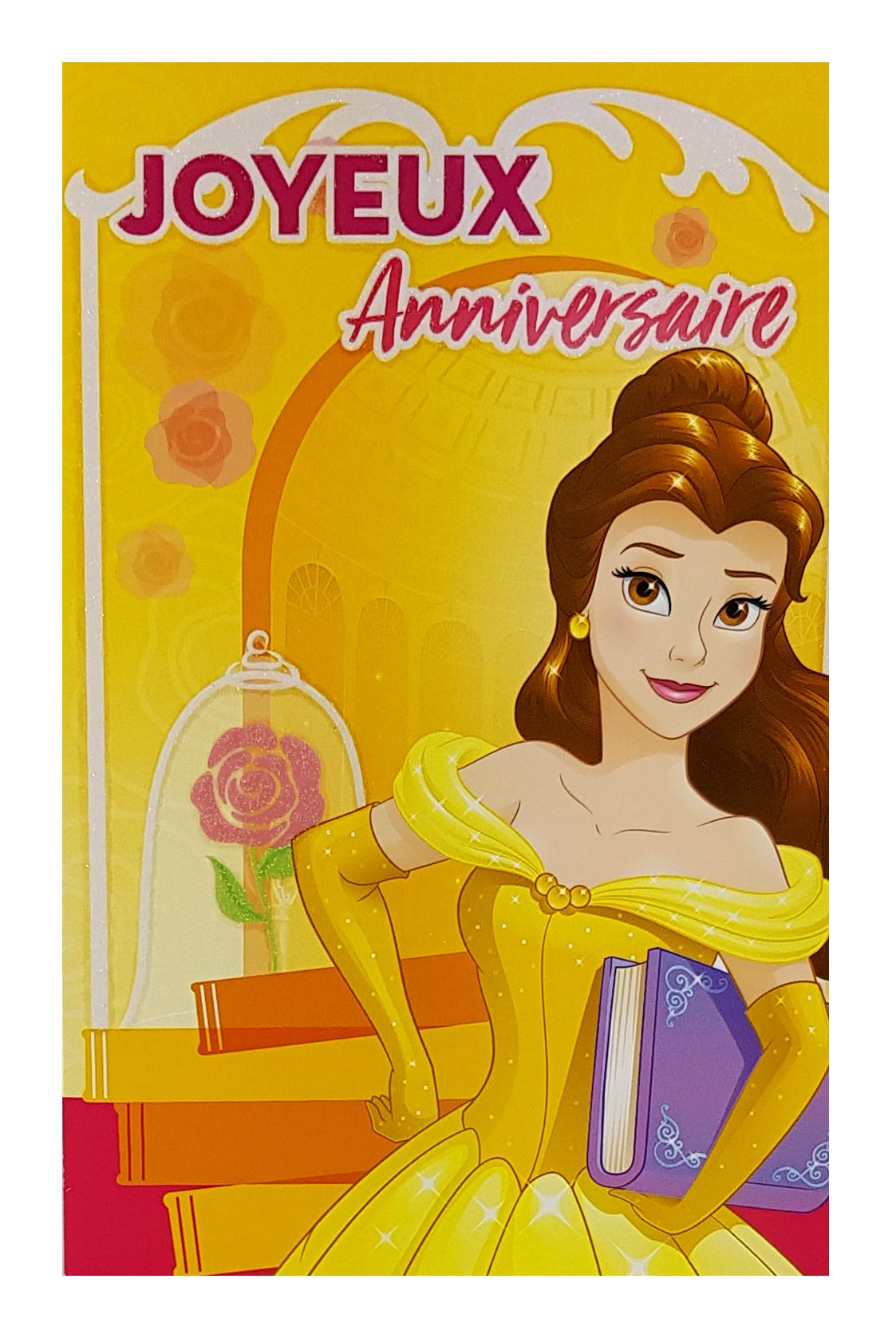 Carte de menu anniversaire Princesse Belle-Disney. Réf. 116