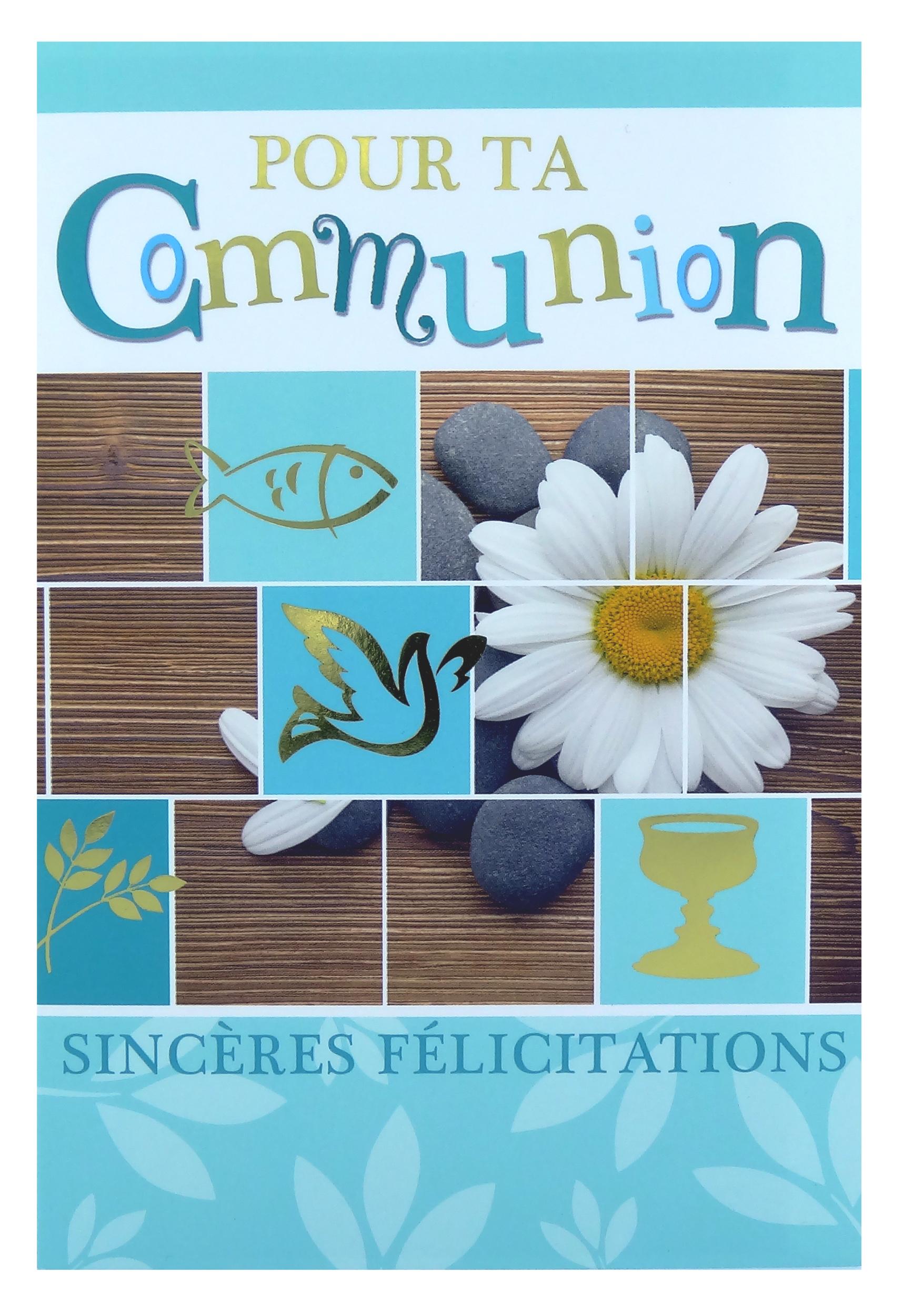 Carte de menu communion fleur marguerite - garçon. Réf. 118