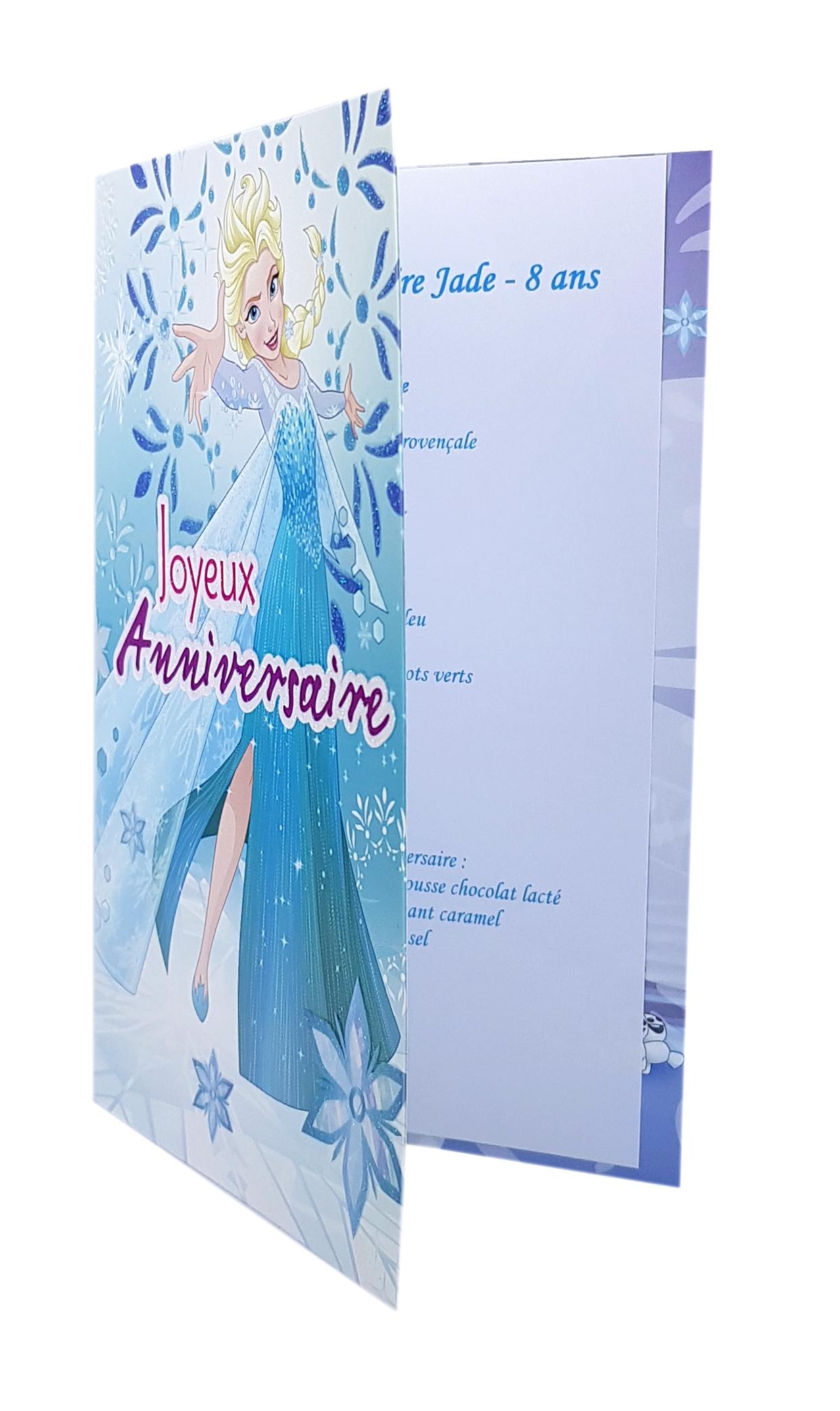 Carte De Menu Anniversaire Reine Des Neiges Elsa 3a Réf 98