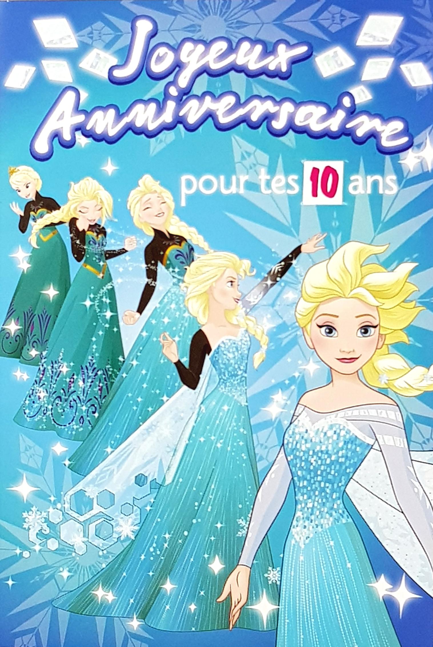 Carte de menu anniversaire Reine des neiges Elsa. Réf. 102