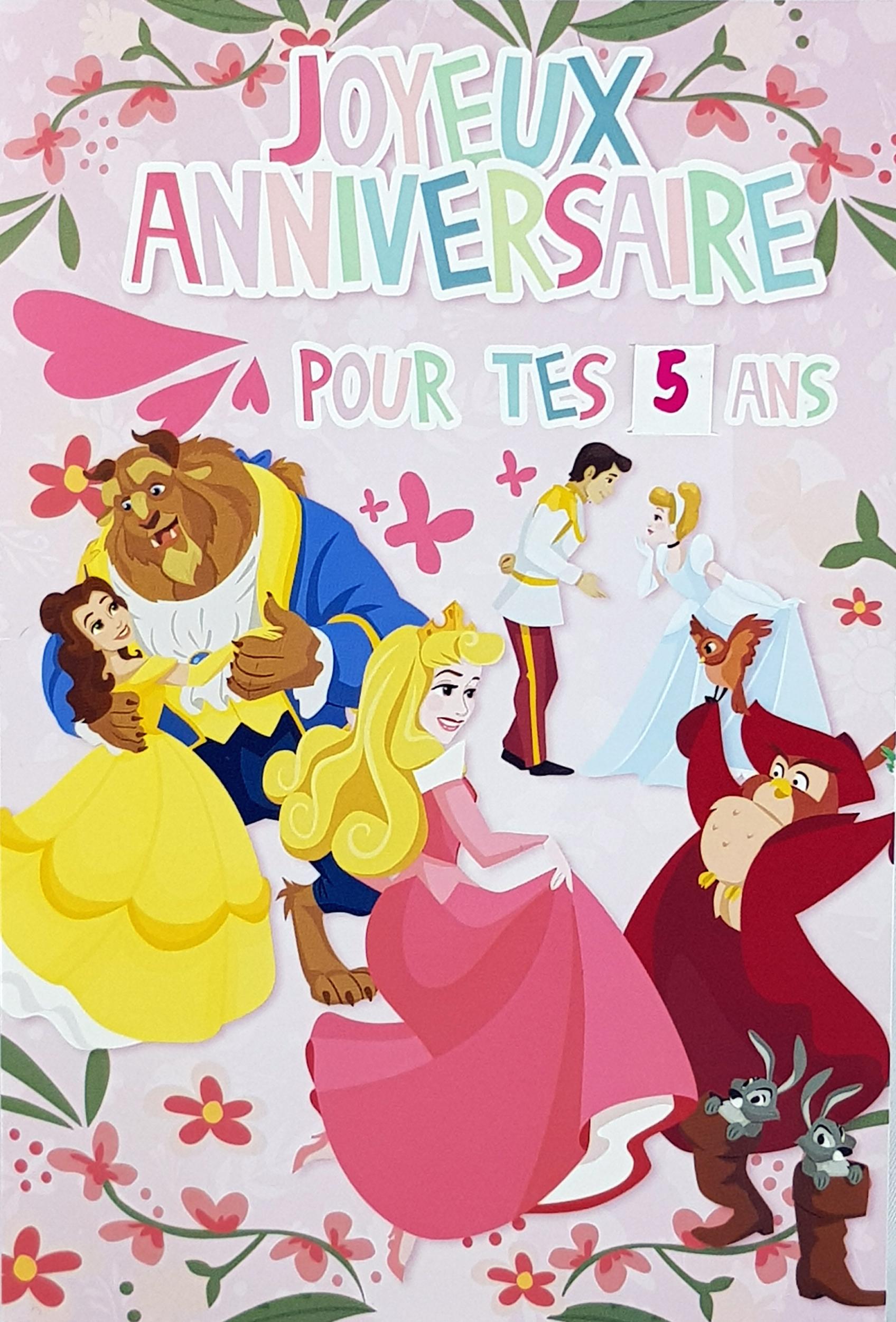 Carte de menu anniversaire princesses Disney. Réf. 108