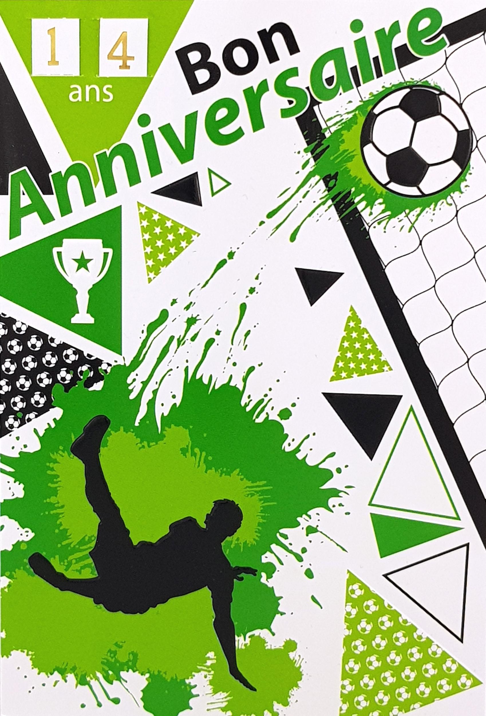 Carte de menu anniversaire Foot coloris vert. Réf. 88