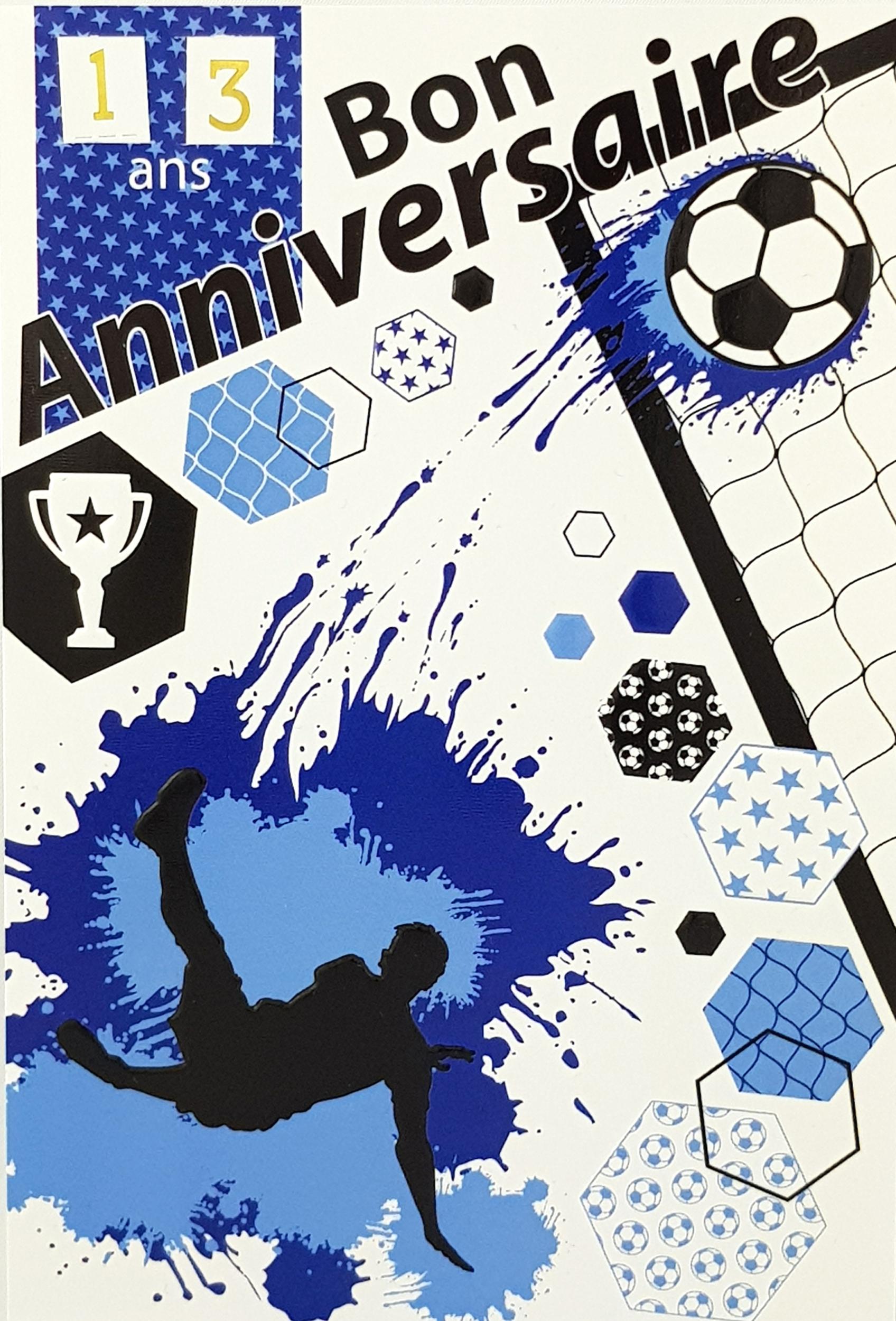 Carte de menu anniversaire Foot coloris bleu. Réf. 90