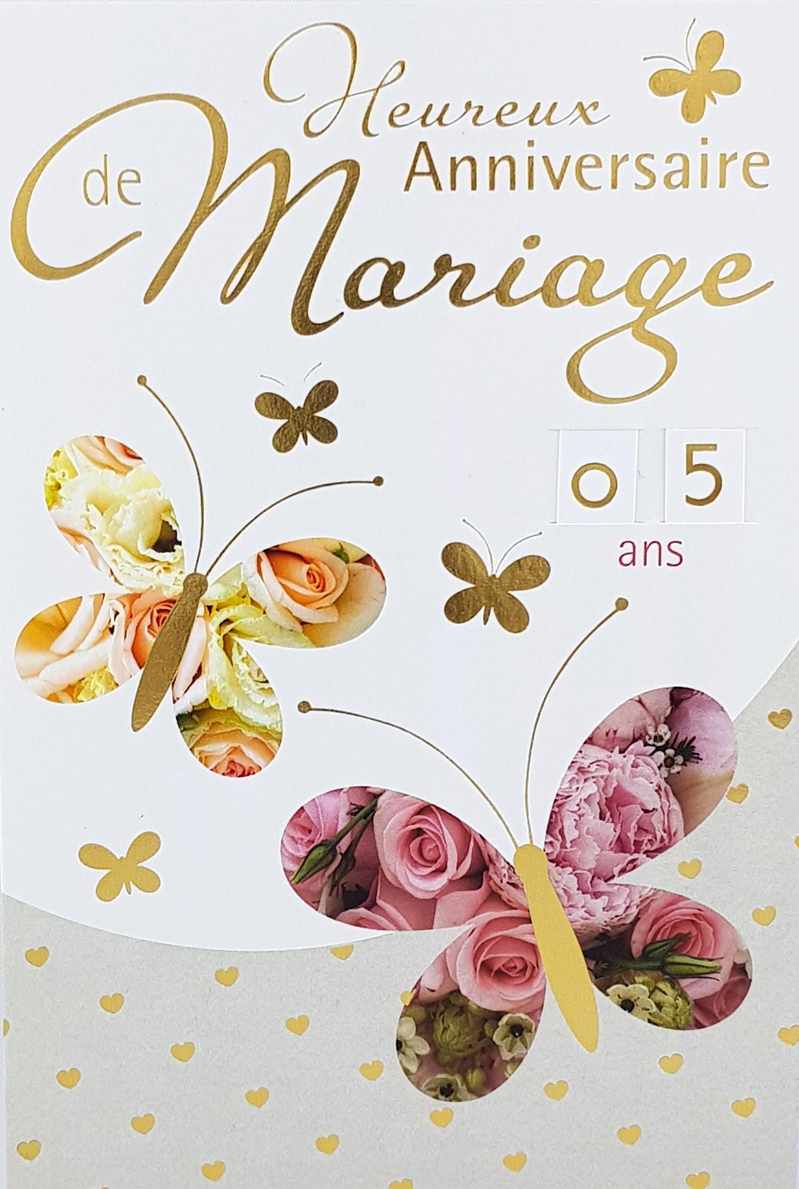 Carte de menu anniversaire de mariage papillons. Réf. 120