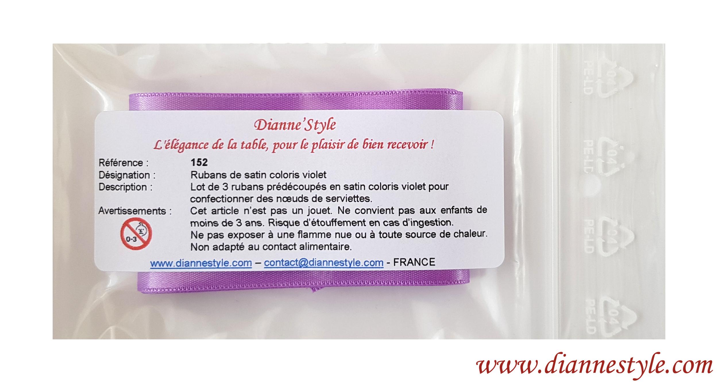 Rubans de satin pour confection de nœuds de serviettes. Coloris mauve. Réf. 152