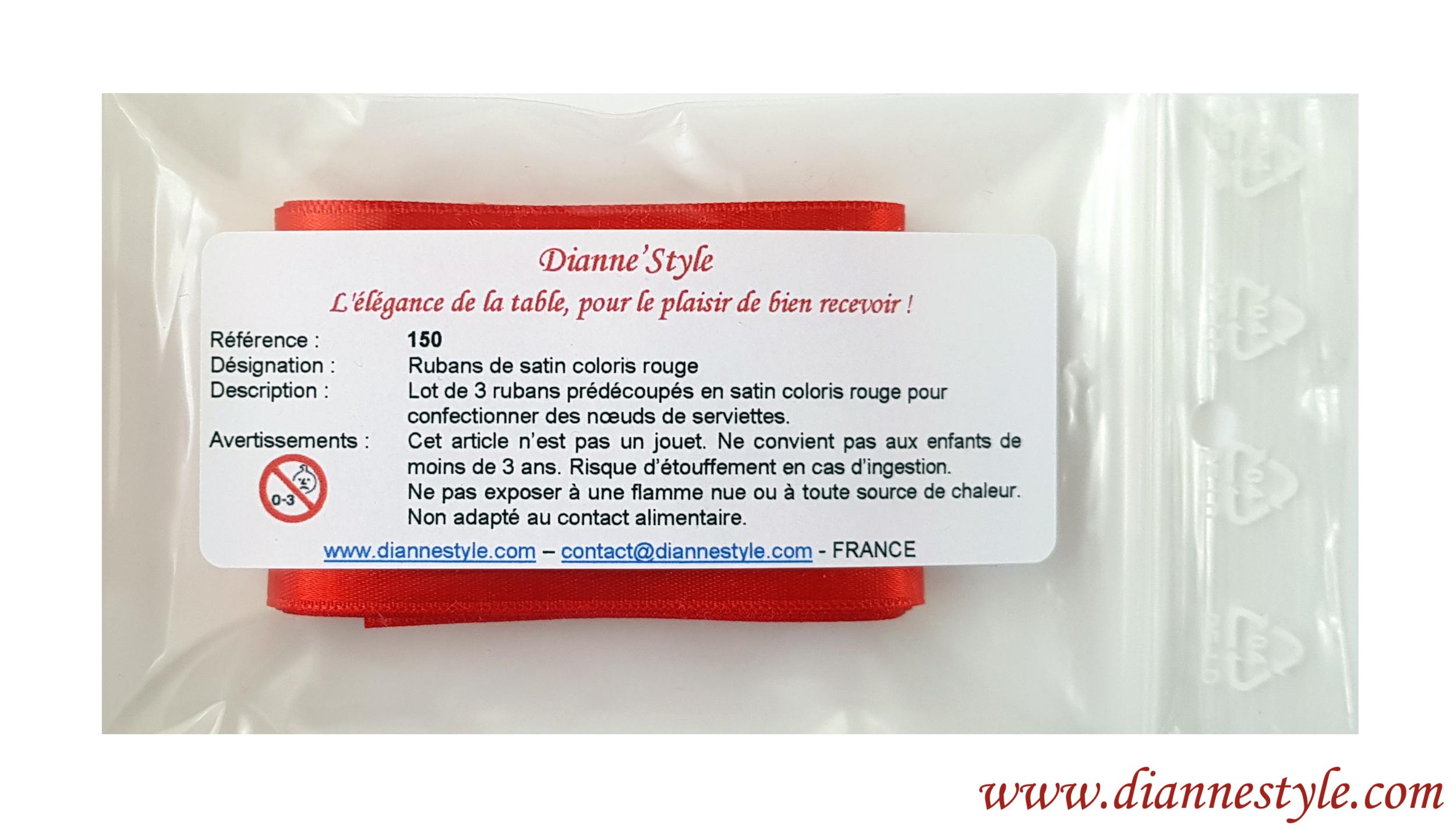 Rubans de satin pour confection de nœuds de serviettes. Coloris rouge. Réf. 150