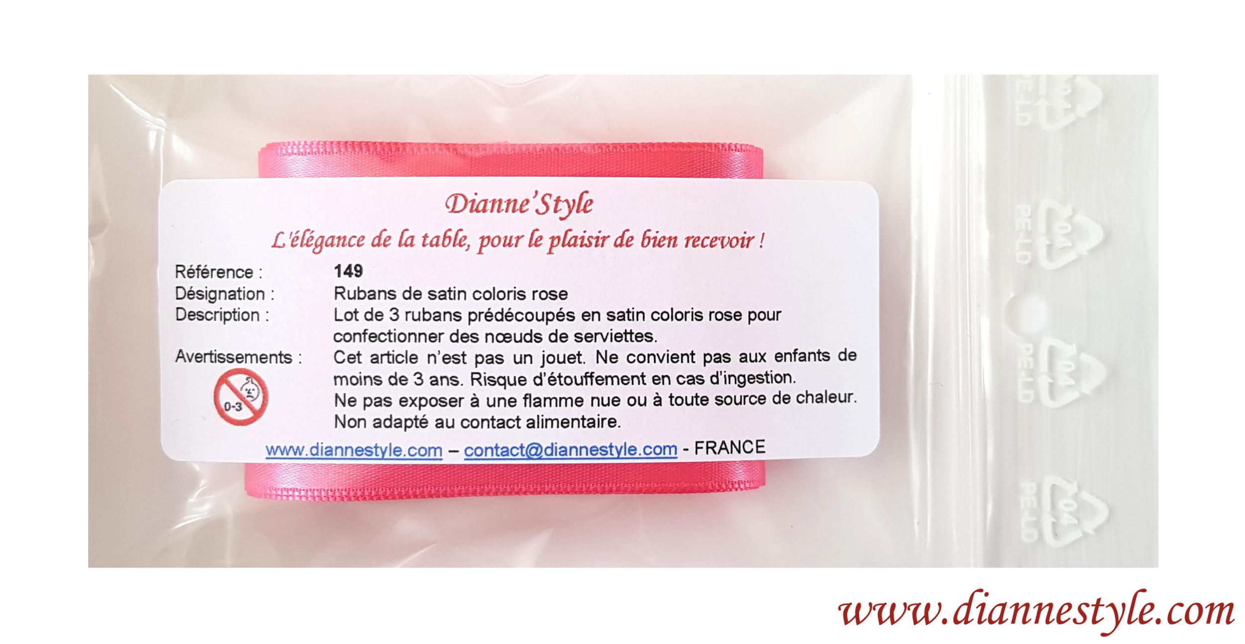 Rubans de satin pour confection de nœuds de serviettes. Coloris rose. Réf. 149