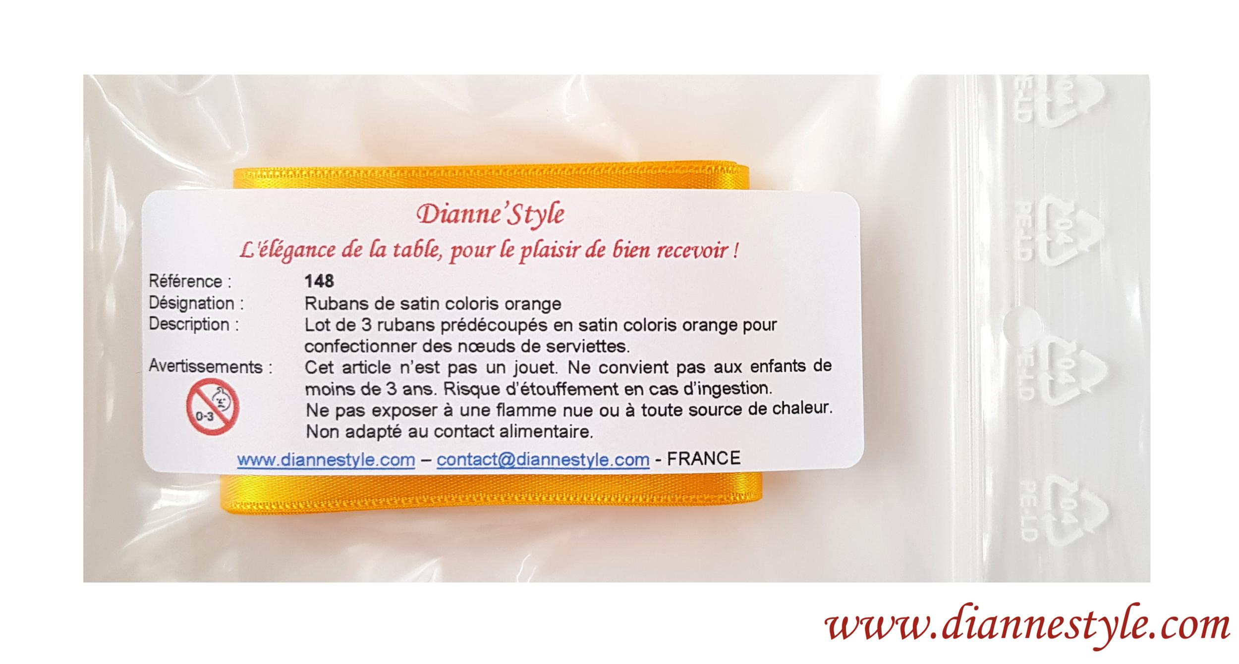 Rubans de satin pour confection de nœuds de serviettes. Coloris orange. Réf. 148