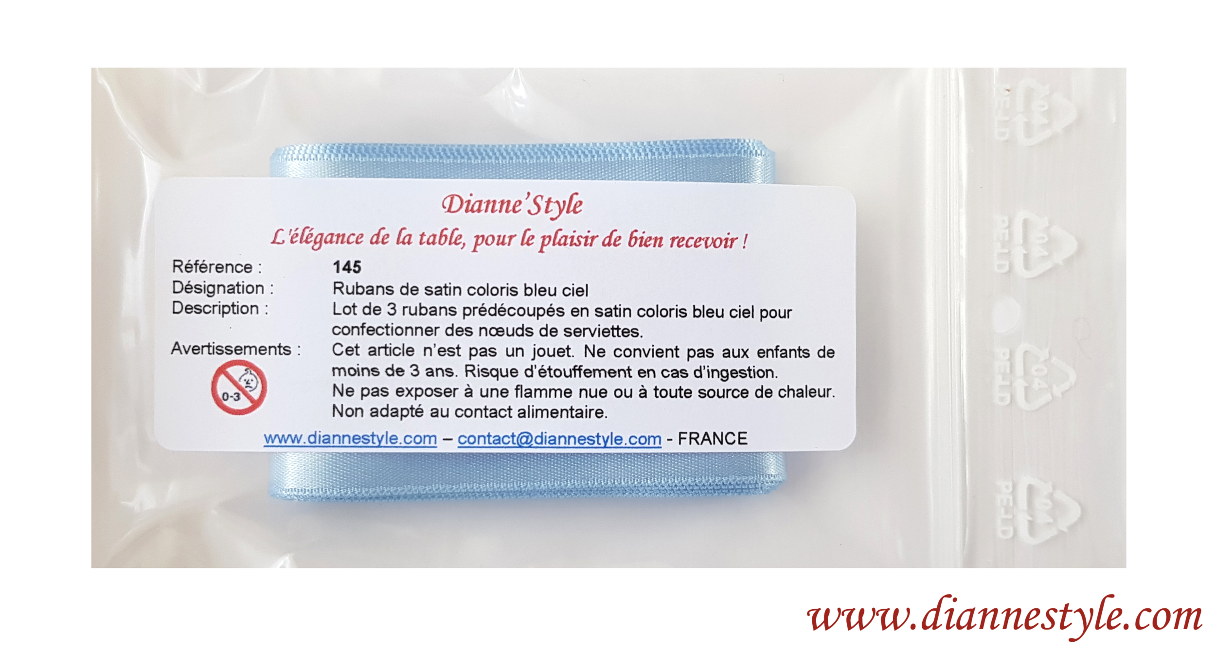 Rubans de satin pour confection de nœuds de serviettes. Coloris bleu ciel. Réf. 145