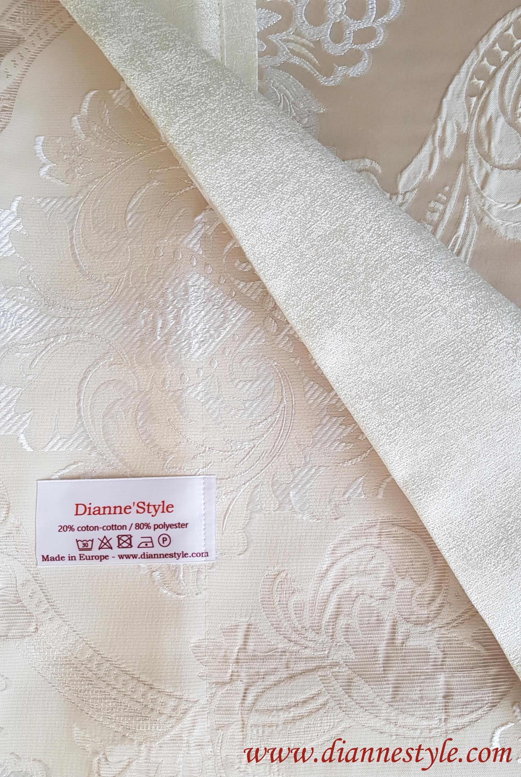 Nappe de table damassée beige Prestige 180x240 cm. Réf. 131