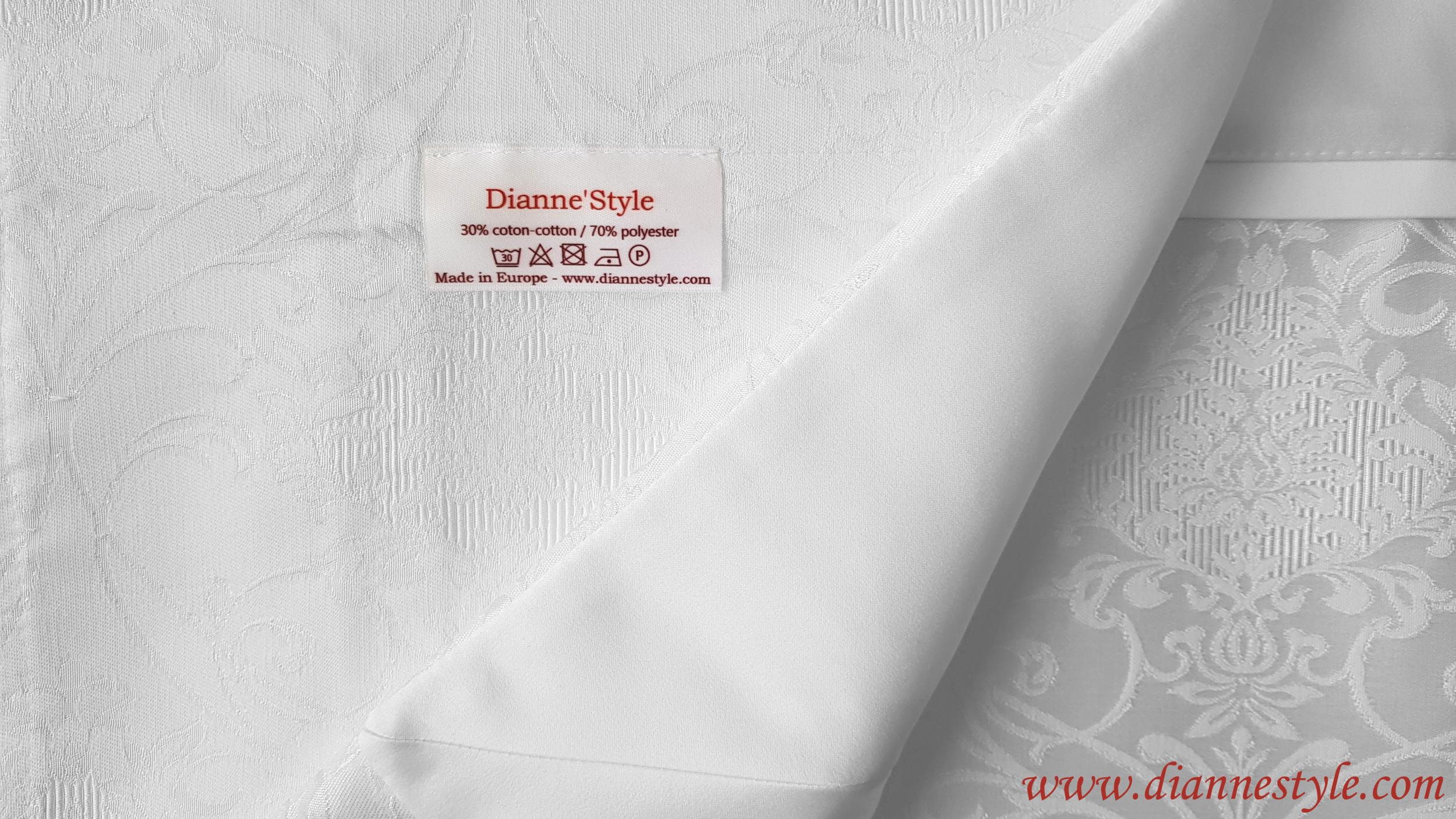 Nappe de table damassée blanche Perle 180x240 cm. Réf. 123