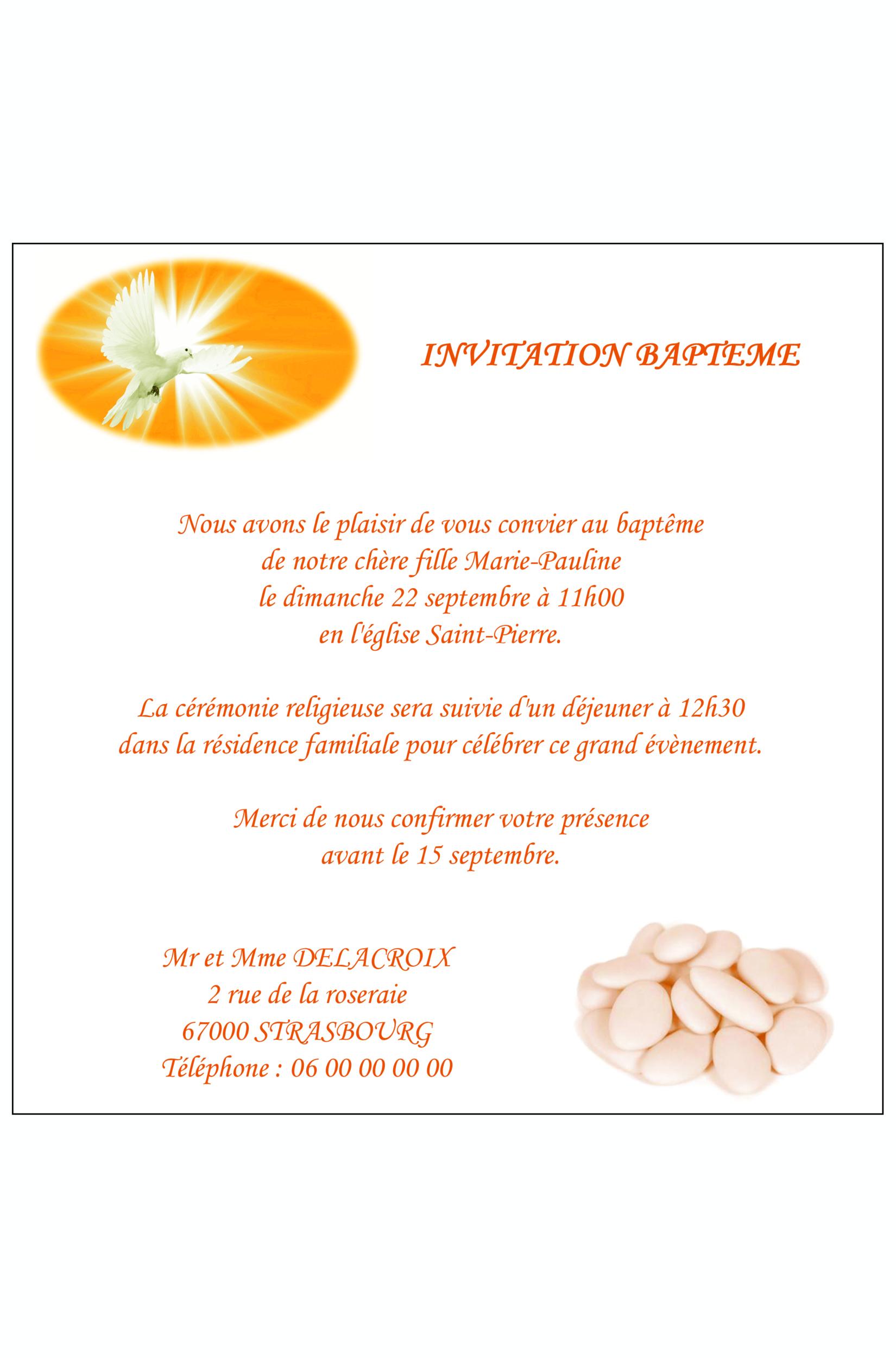 Carte d\'invitation baptême fille. Réf. 171
