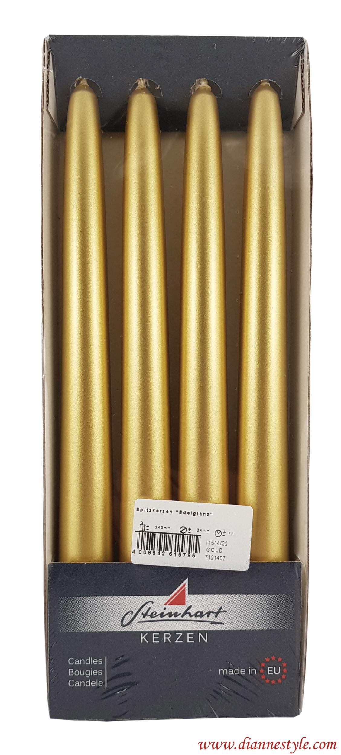 Paquet de 4 bougies flambeaux coloris or métallisé. Réf. 180