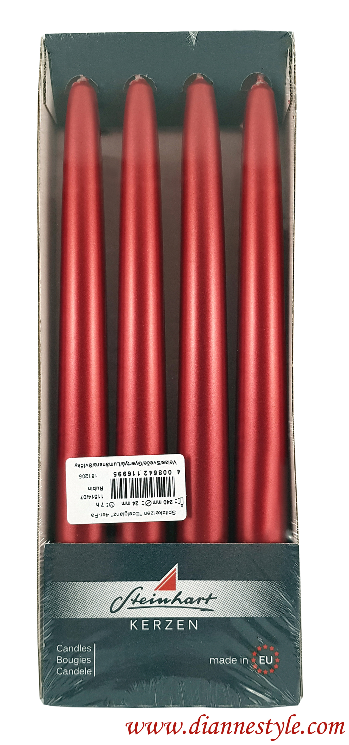 Paquet de 4 bougies flambeaux coloris rubis métallisé. Réf. 183