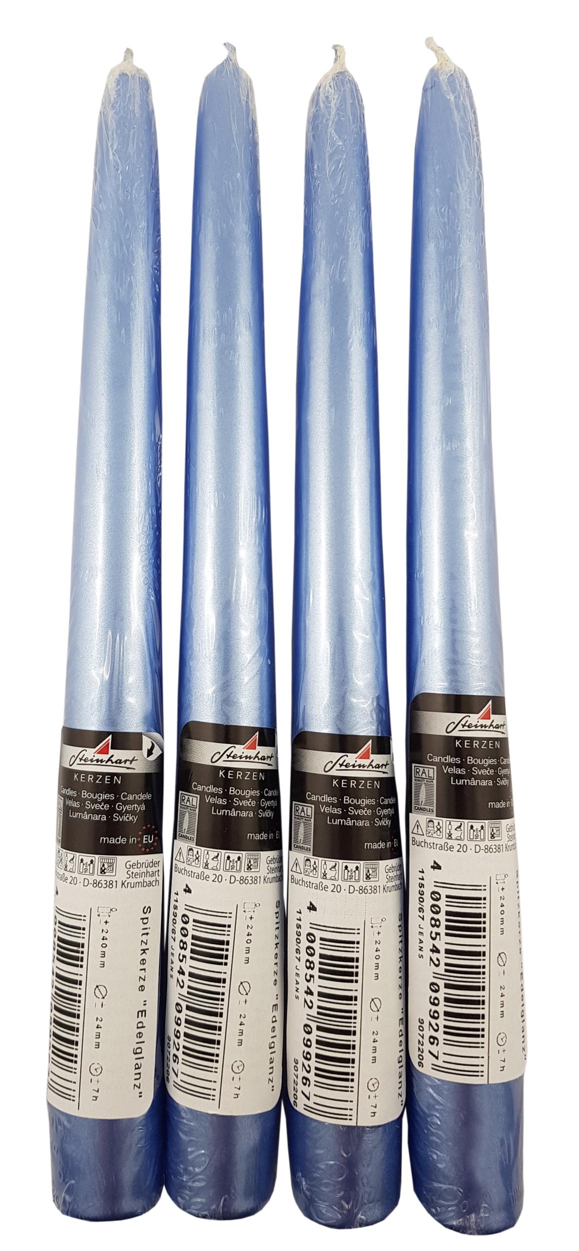 Lot de 4 bougies flambeaux coloris bleu-jeans métallisé. Réf. 188