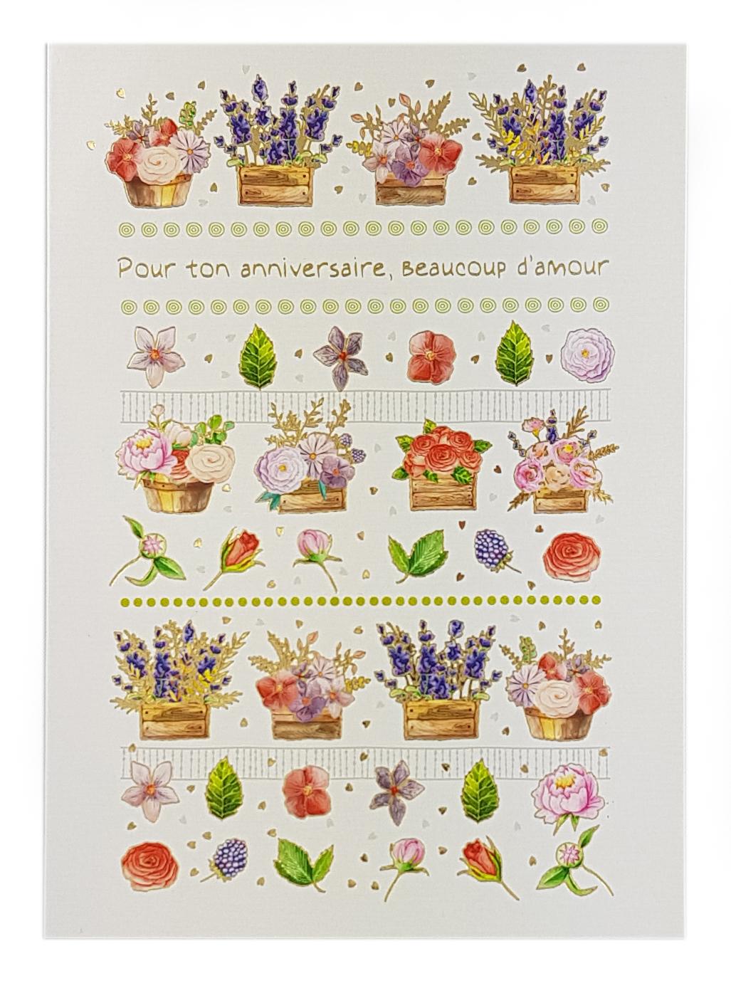 Carte de menu anniversaire femme-fleurs. Réf. 37