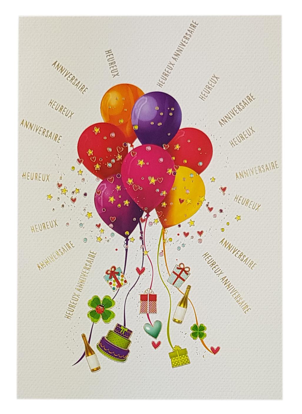 Carte de menu anniversaire femme-Ballons. Réf. 38