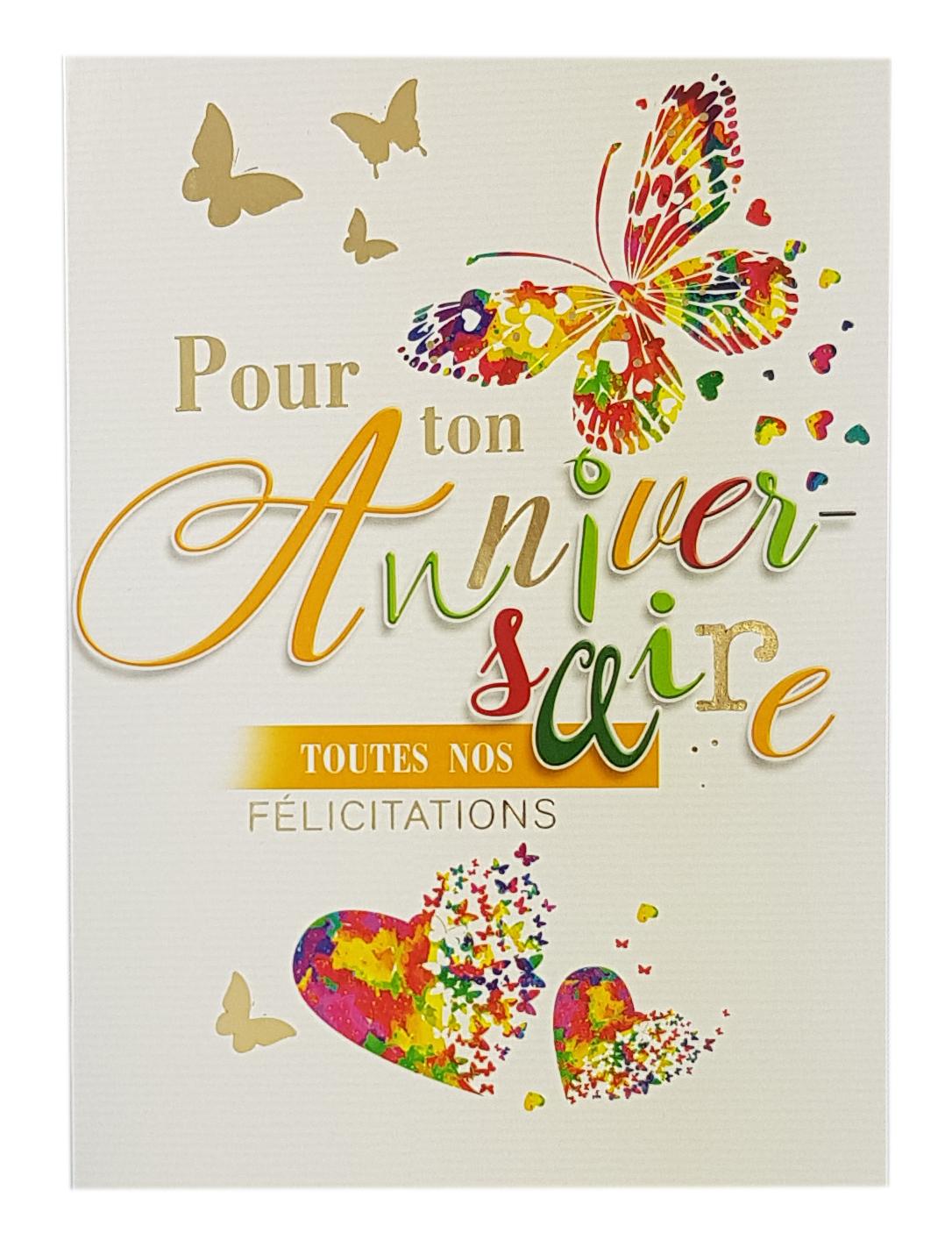 Carte anniversaire femme - Papillons. Réf. 19
