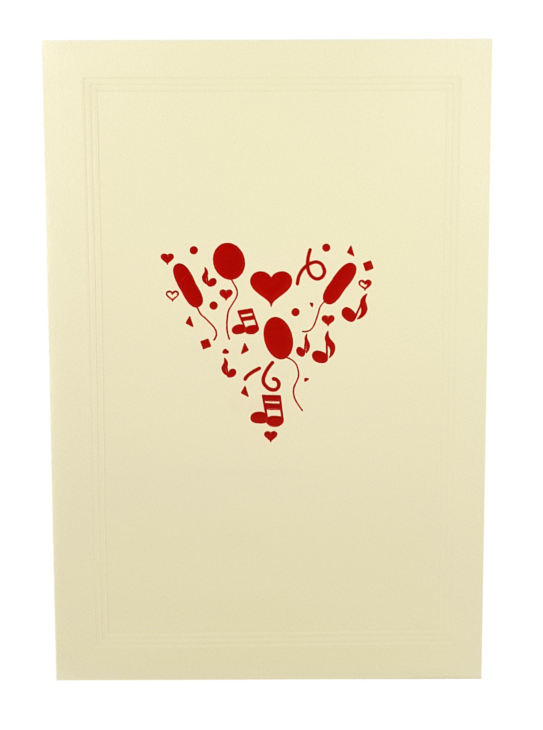 Carte de menu Saint-Valentin-Le coeur en fête. Réf. 202