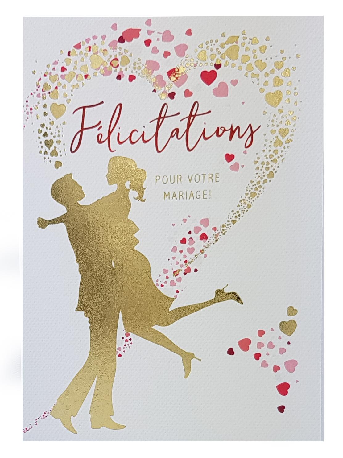 Carte de menu félicitations mariage, dorée. Réf. 42