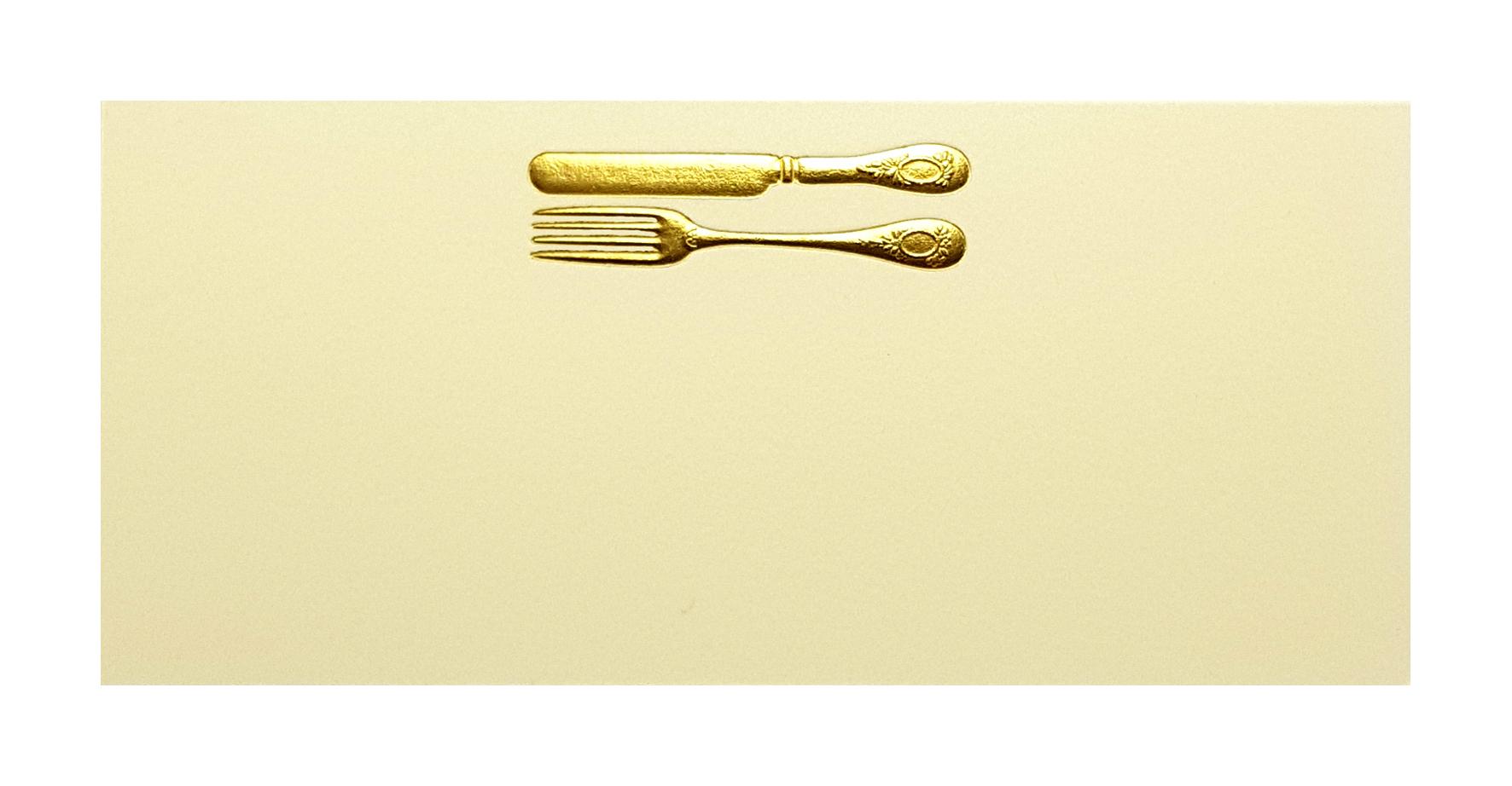 Marque-place ivoire couverts dorés. Réf. 207