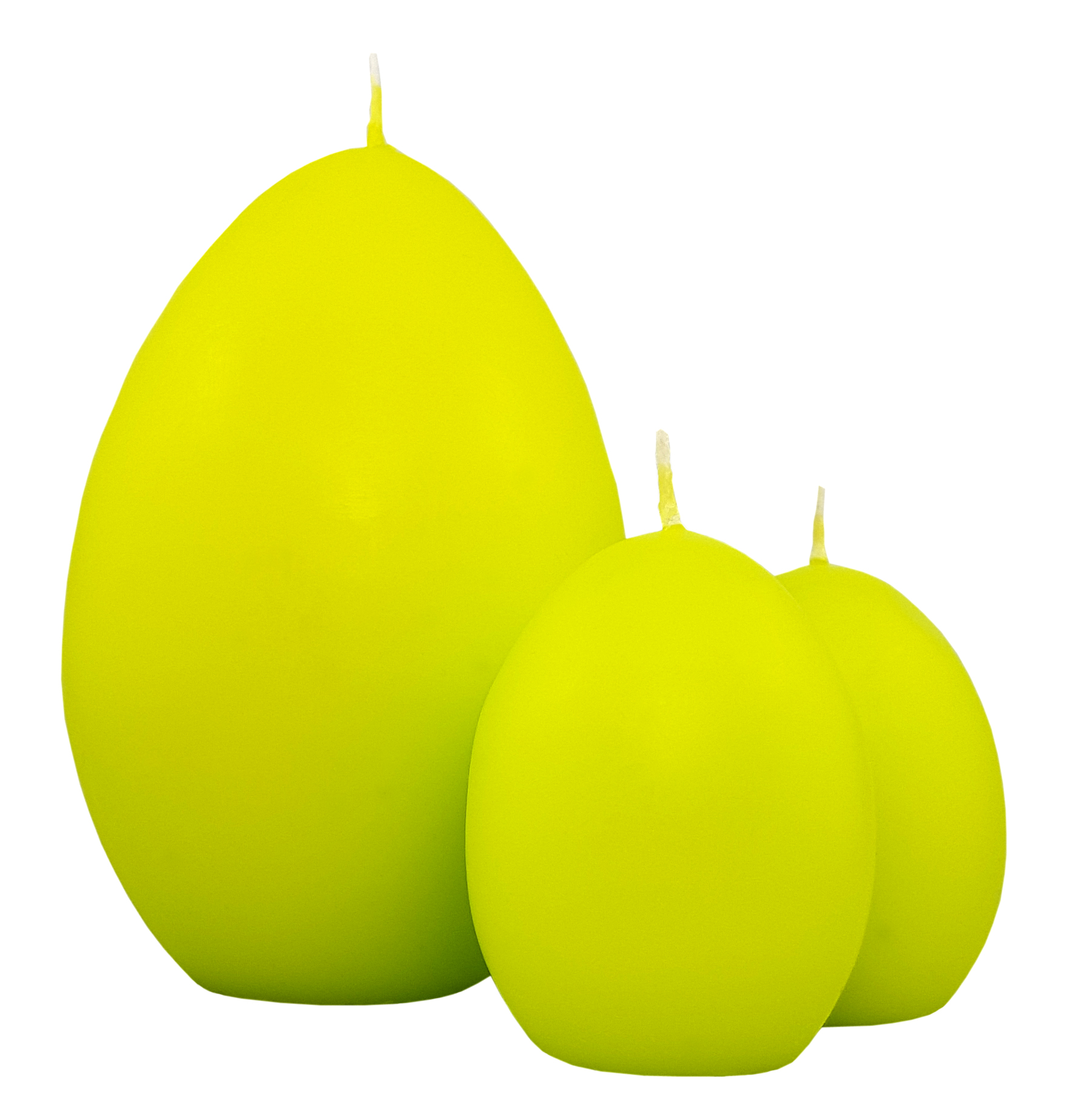 Lot de 3 bougies œufs. Coloris vert citron. Réf. 224