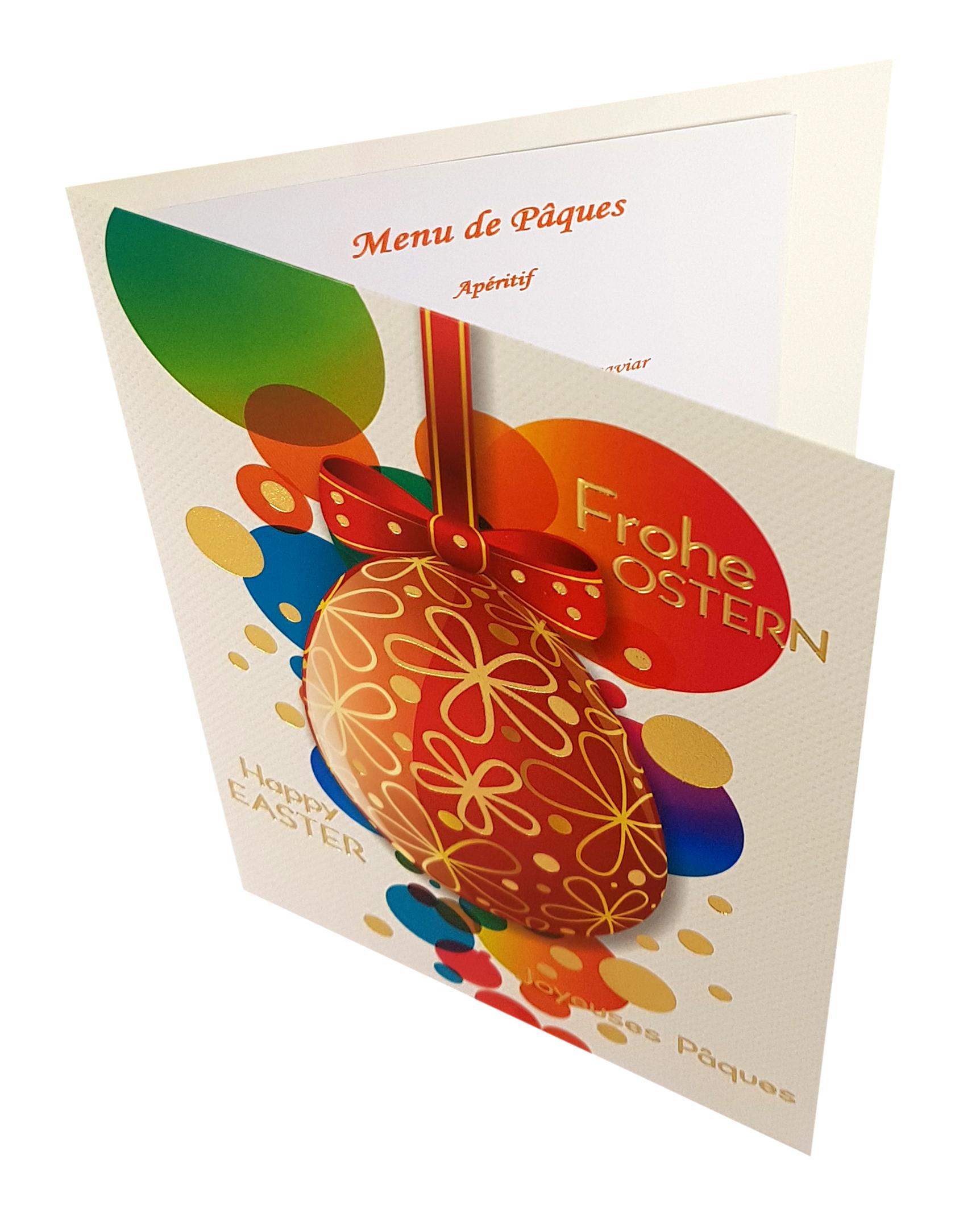 Carte de menu Pâques. Réf. 228
