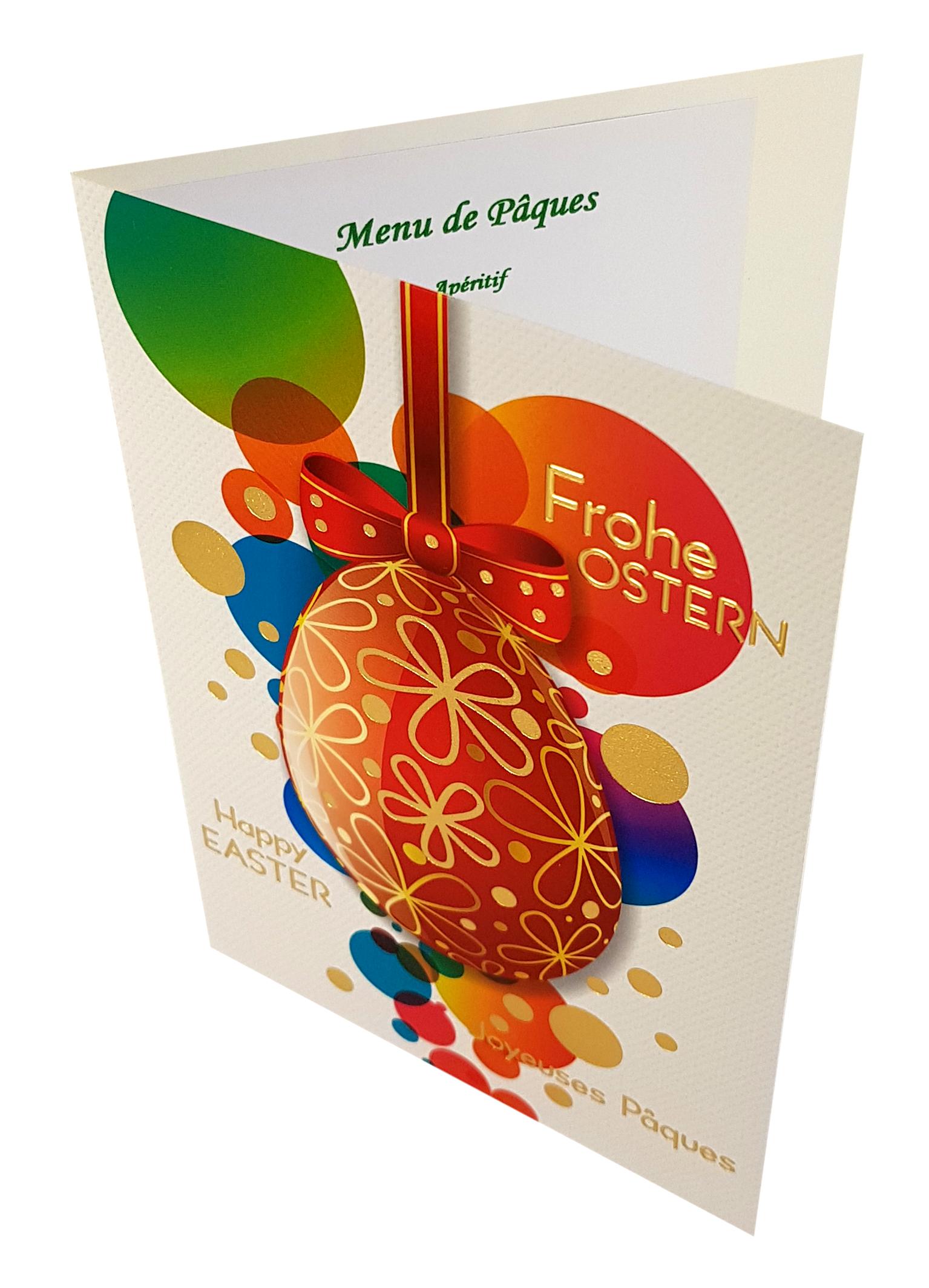 Carte de menu Pâques. Réf. 229