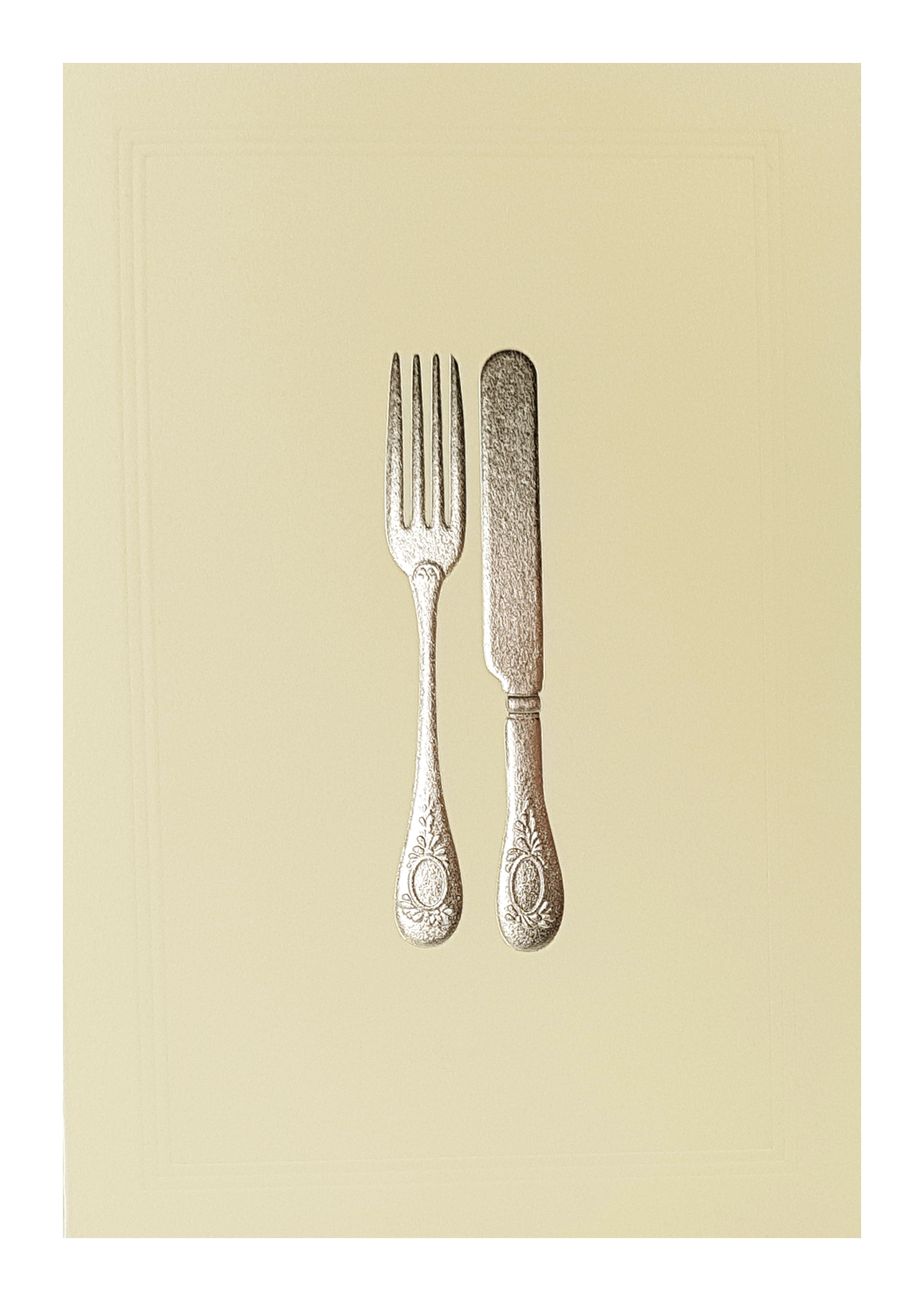 Carte de menu ivoire couverts argentés. Réf. 212