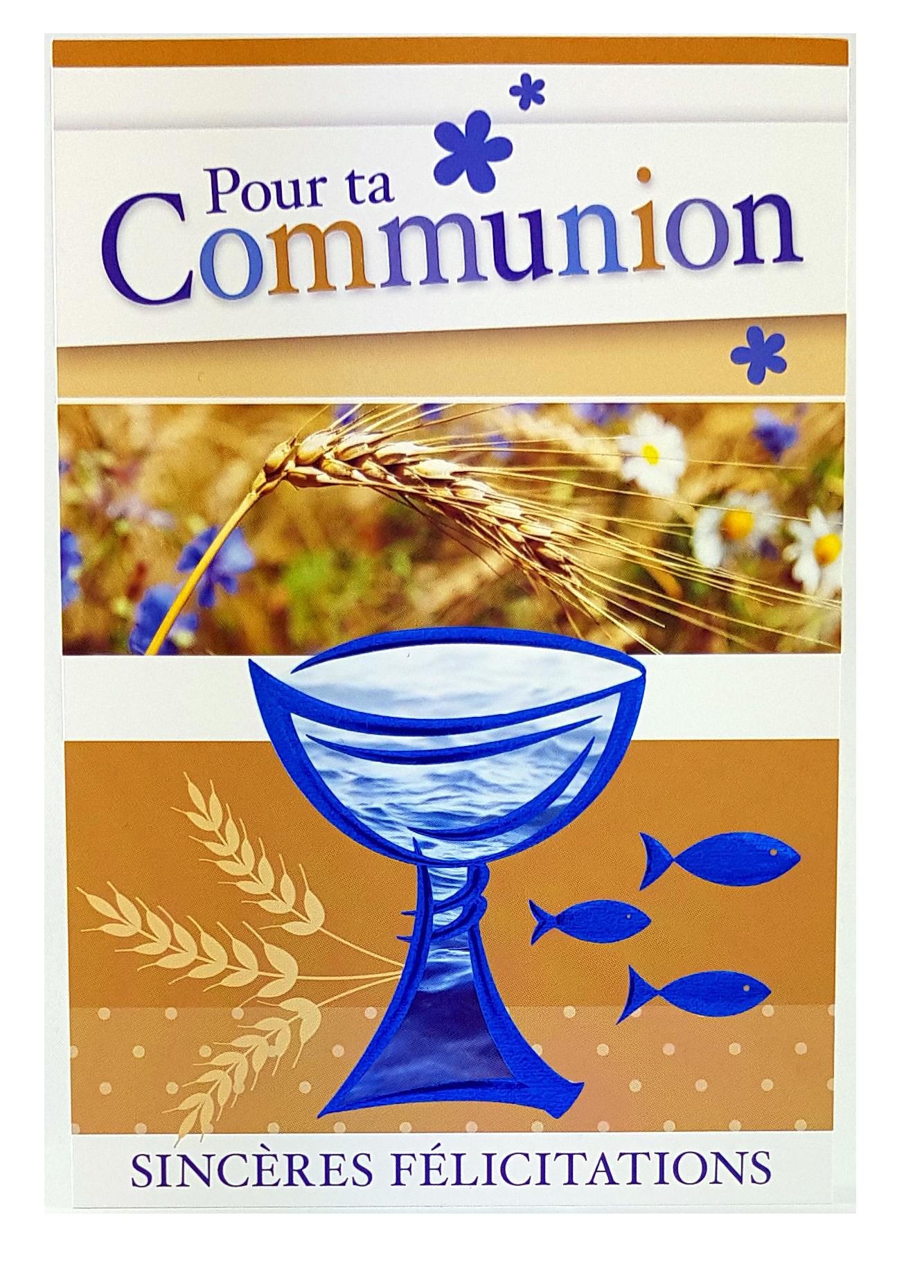 Carte de menu communion garçon. Réf. 55